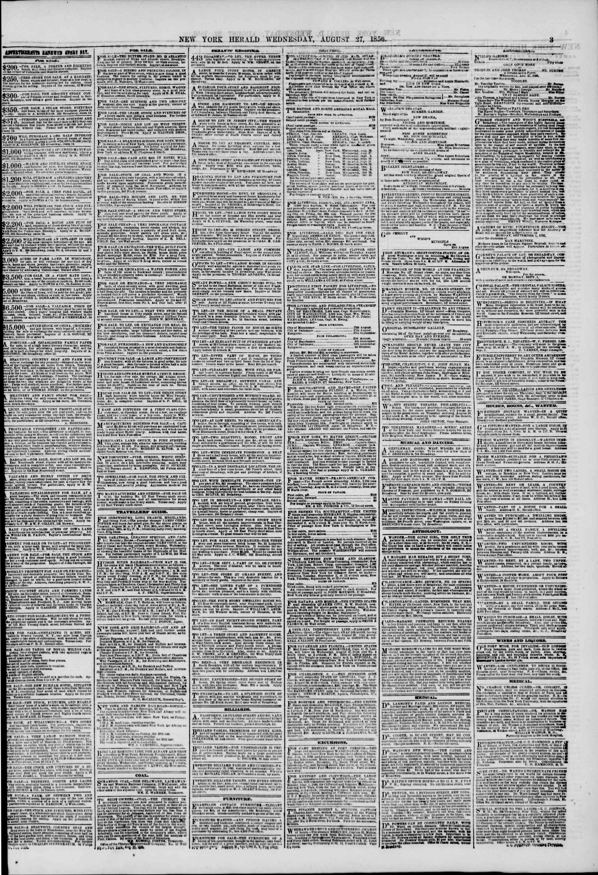 Newspaper of The New York Herald dated August 27, 1856 Page 3