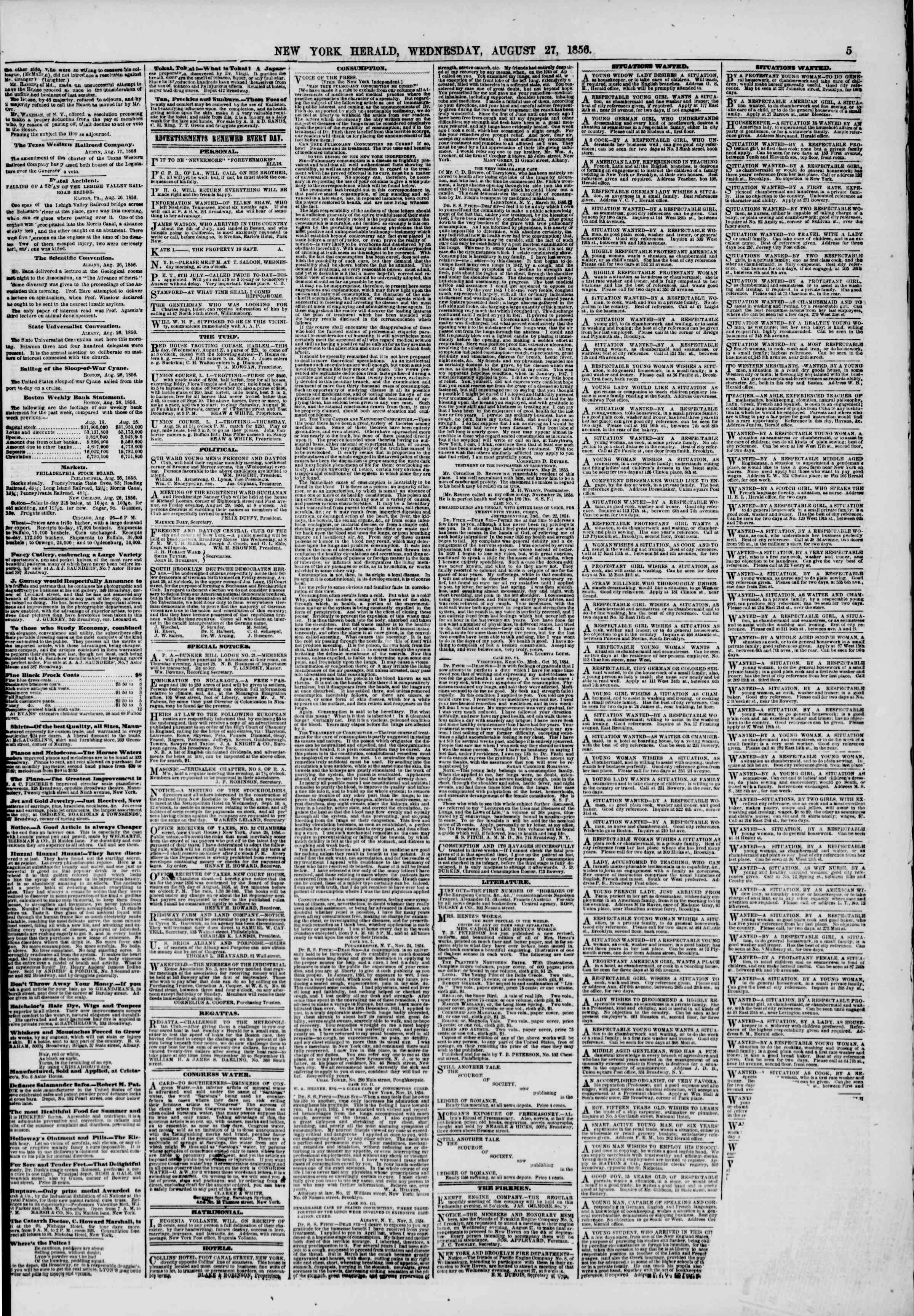 Newspaper of The New York Herald dated August 27, 1856 Page 5