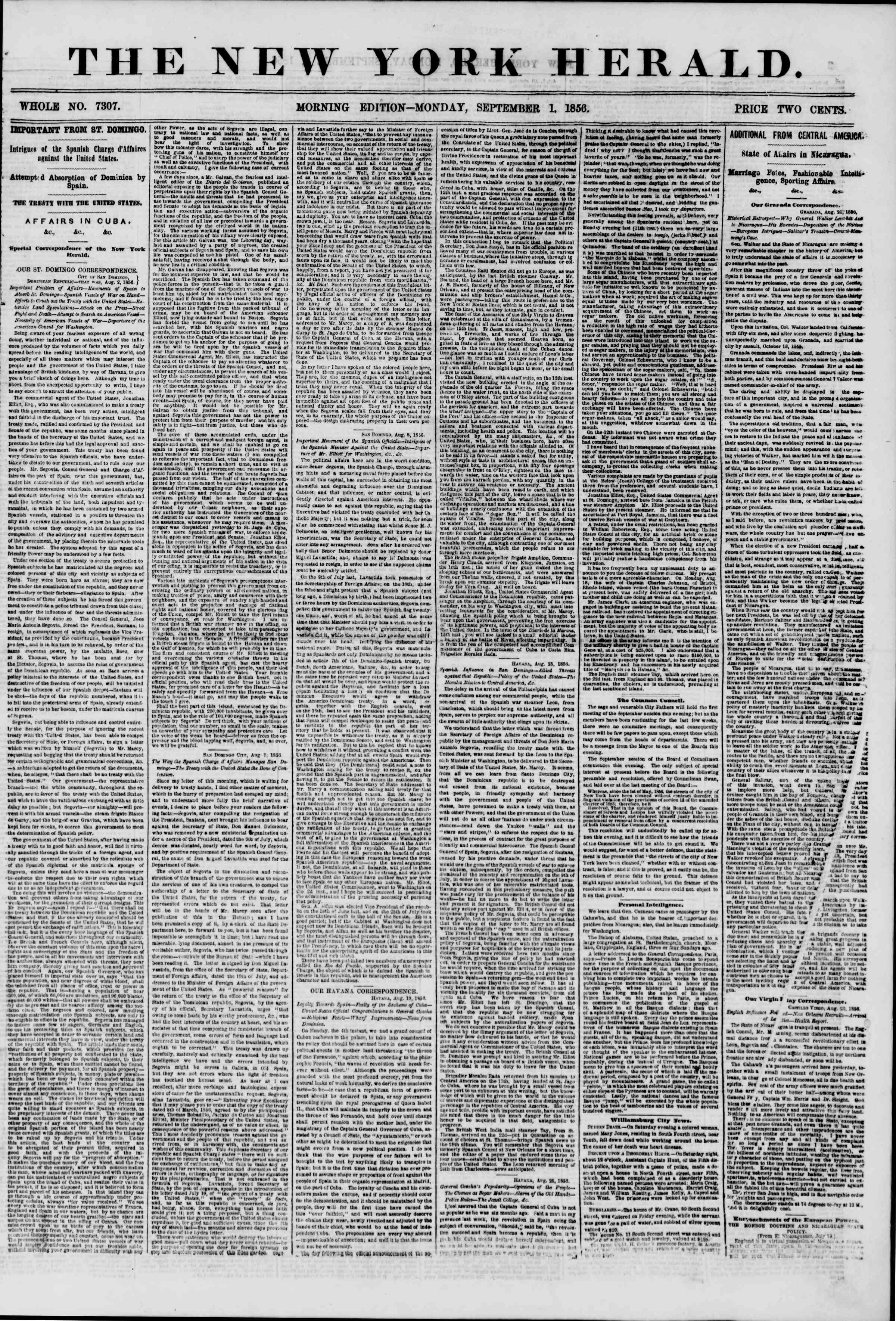Newspaper of The New York Herald dated September 1, 1856 Page 1