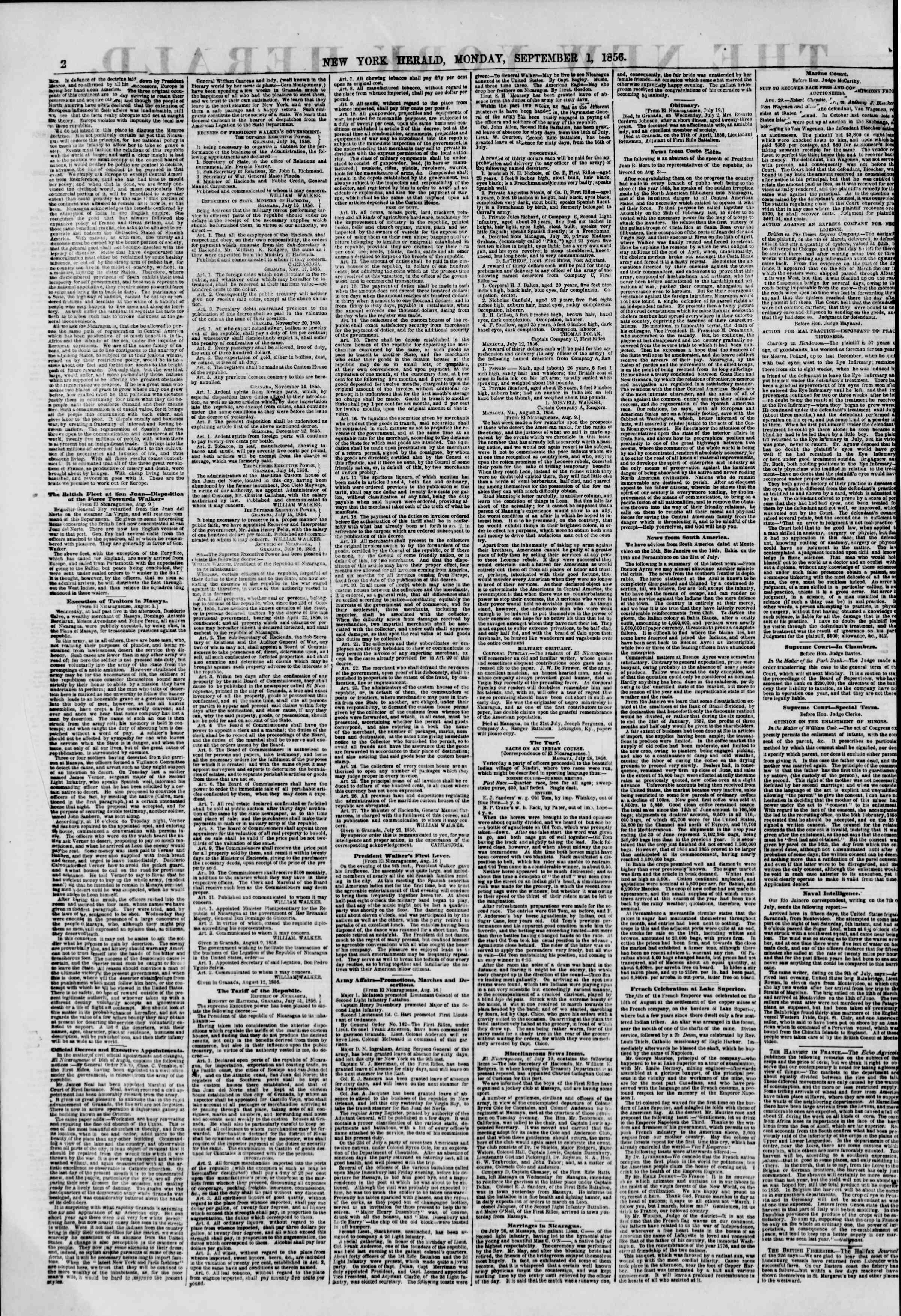 Newspaper of The New York Herald dated September 1, 1856 Page 2