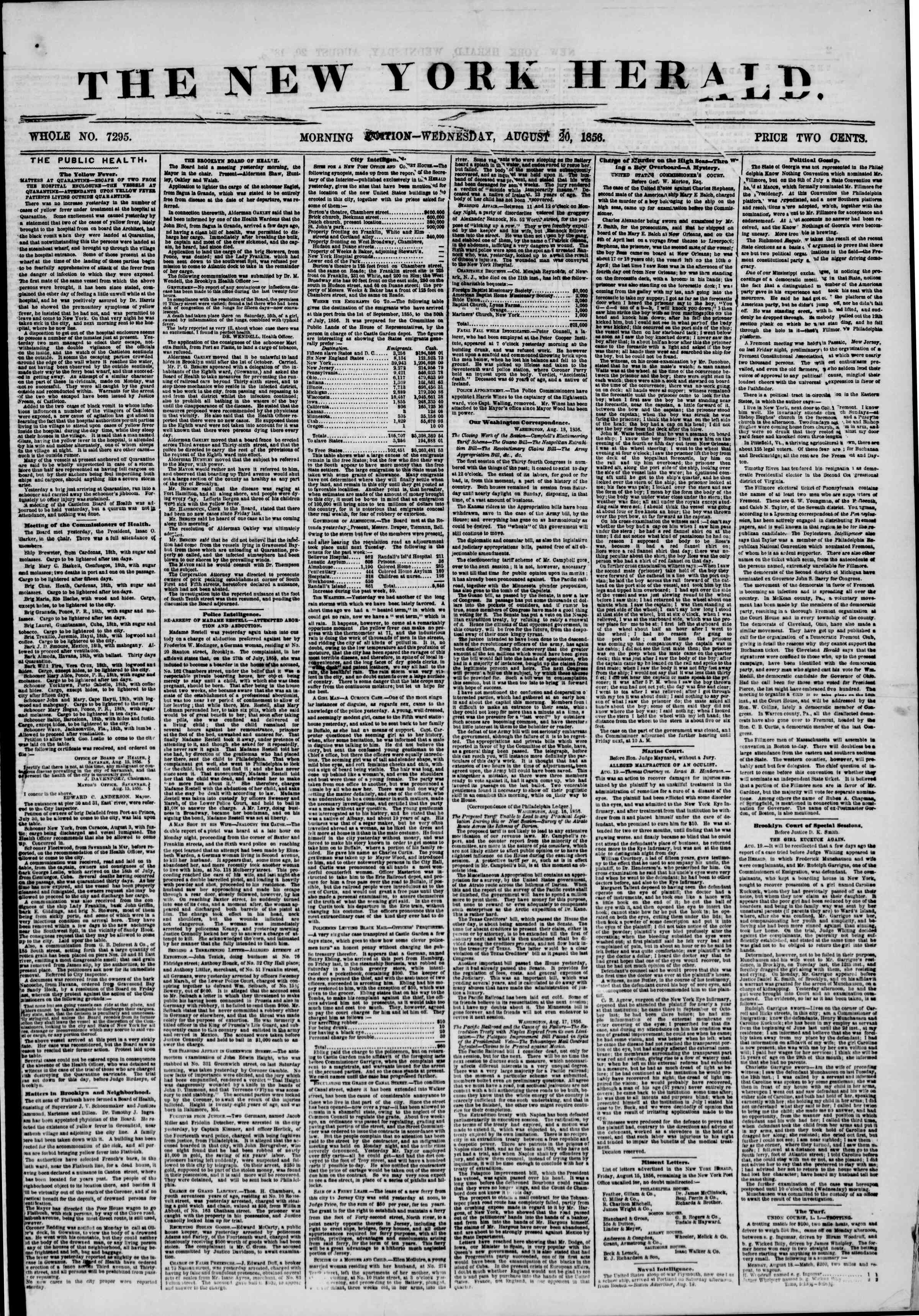 Newspaper of The New York Herald dated September 2, 1856 Page 1