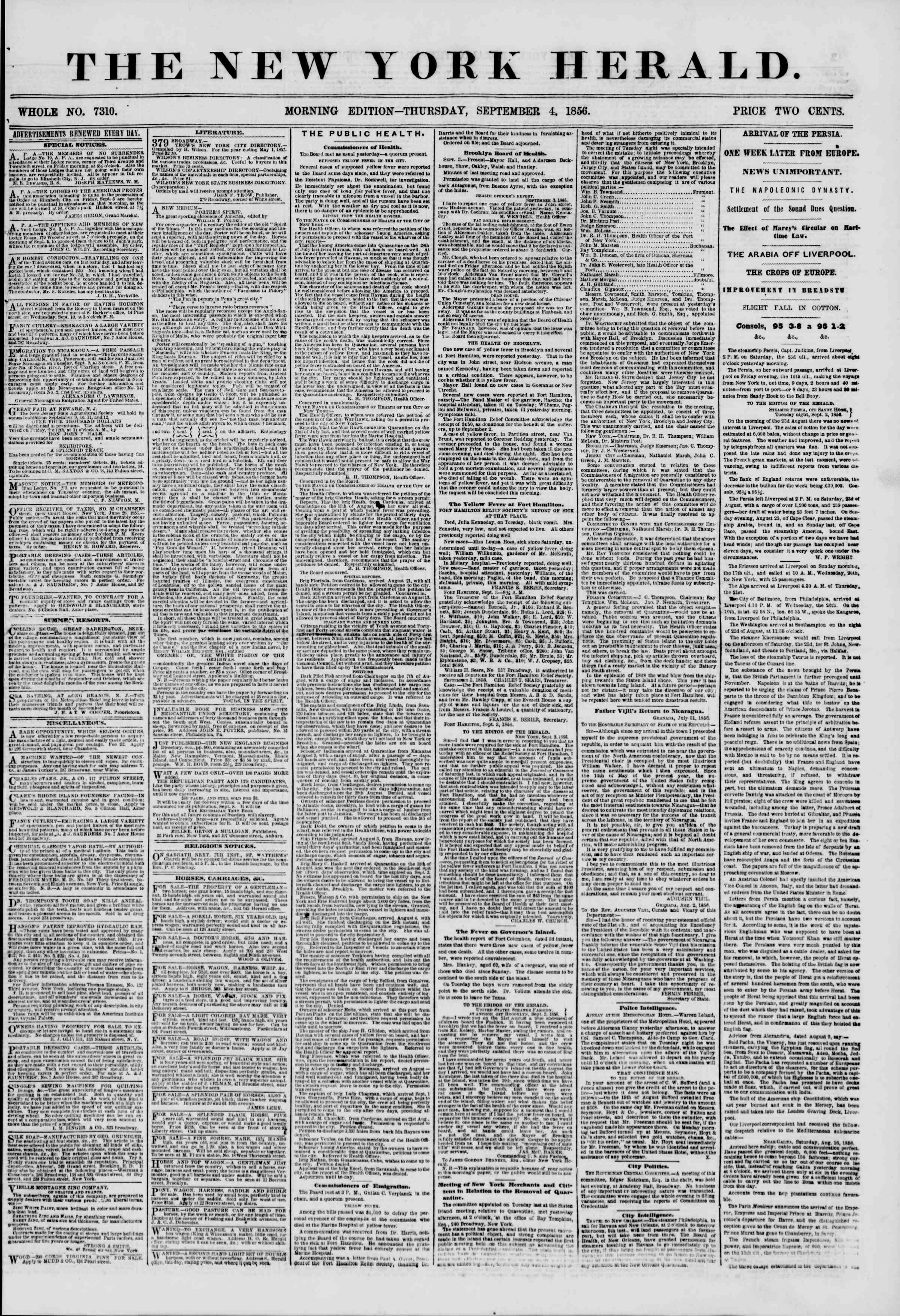 Newspaper of The New York Herald dated September 4, 1856 Page 1
