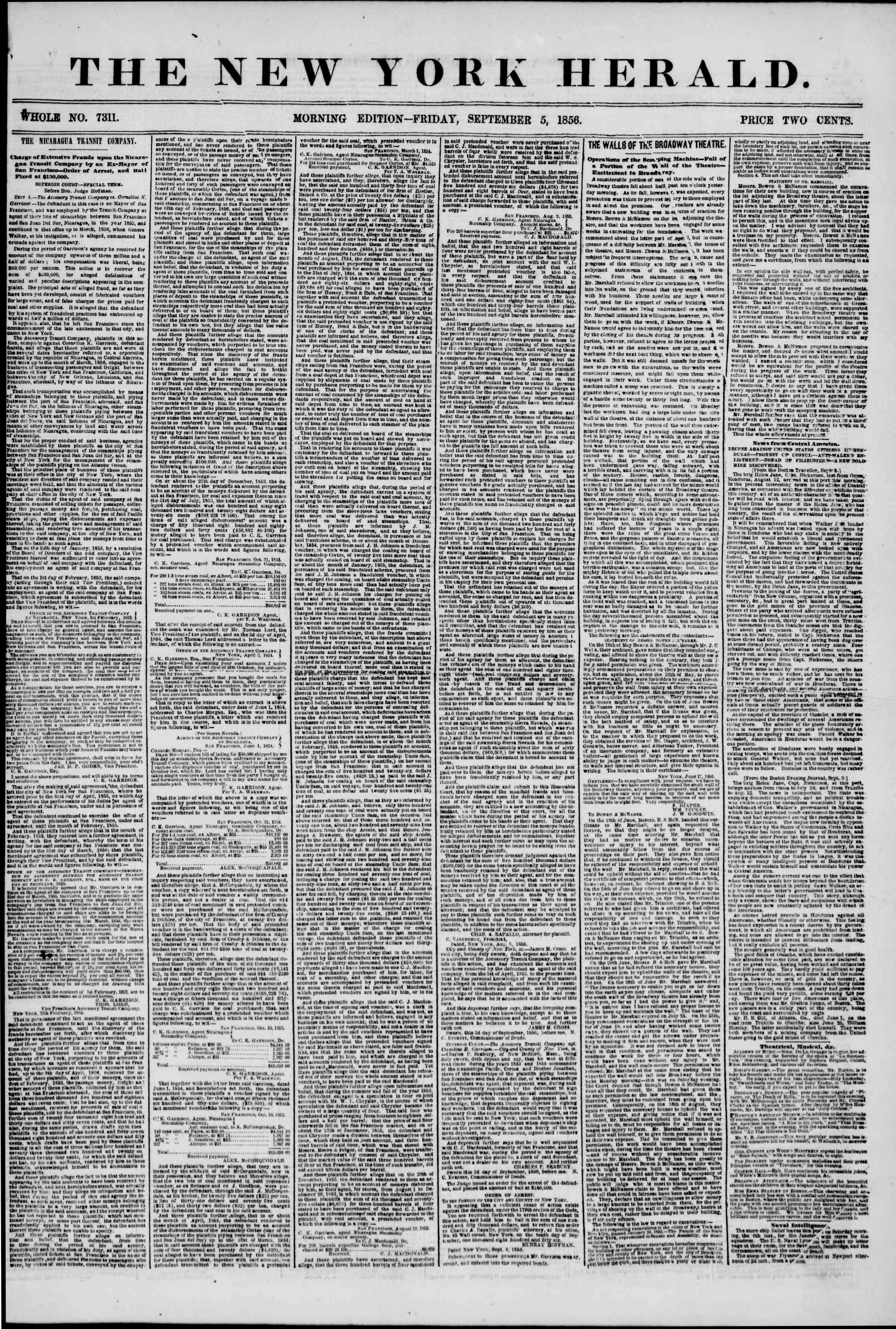 Newspaper of The New York Herald dated 5 Eylül 1856 Page 1