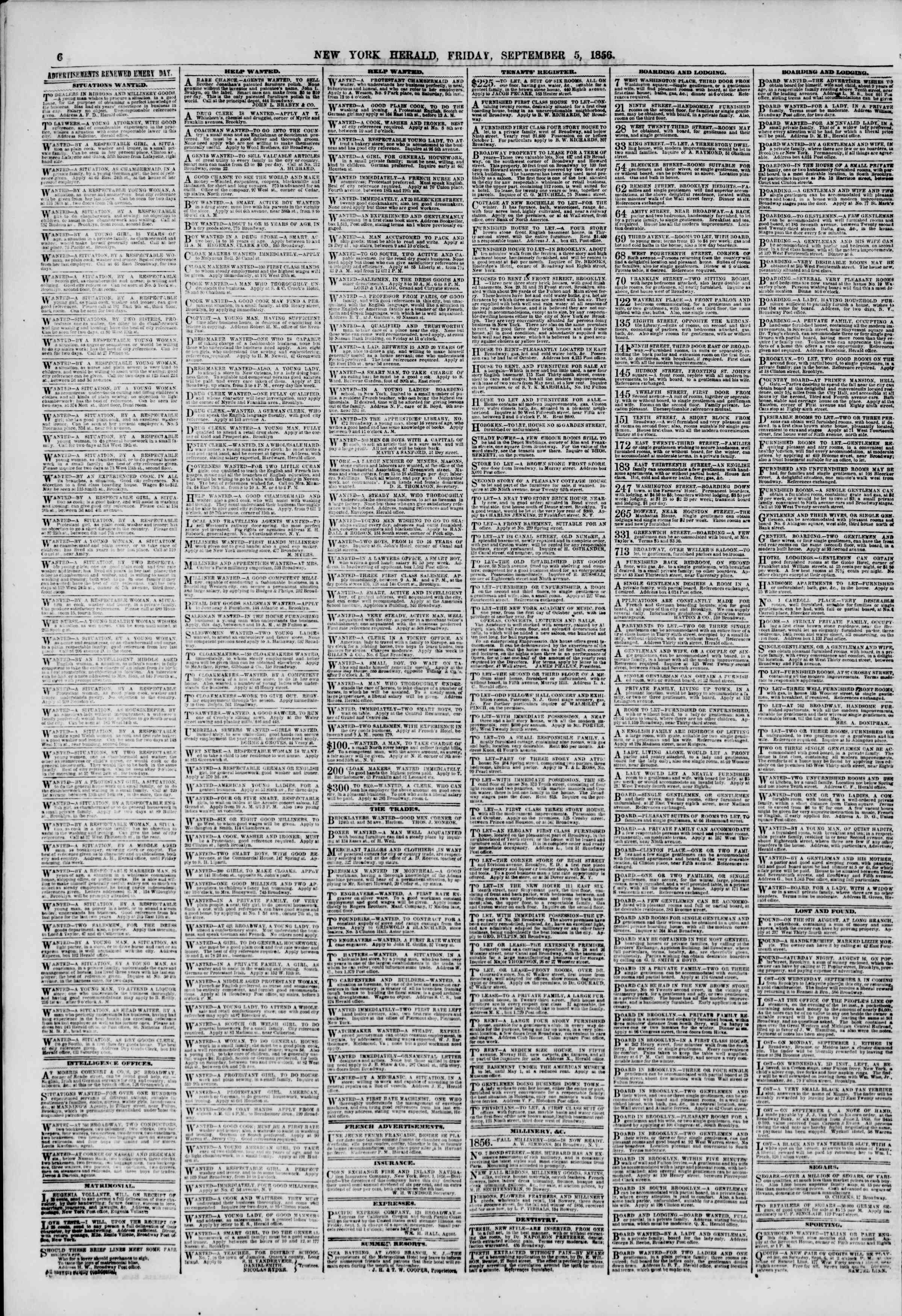 Newspaper of The New York Herald dated September 5, 1856 Page 6
