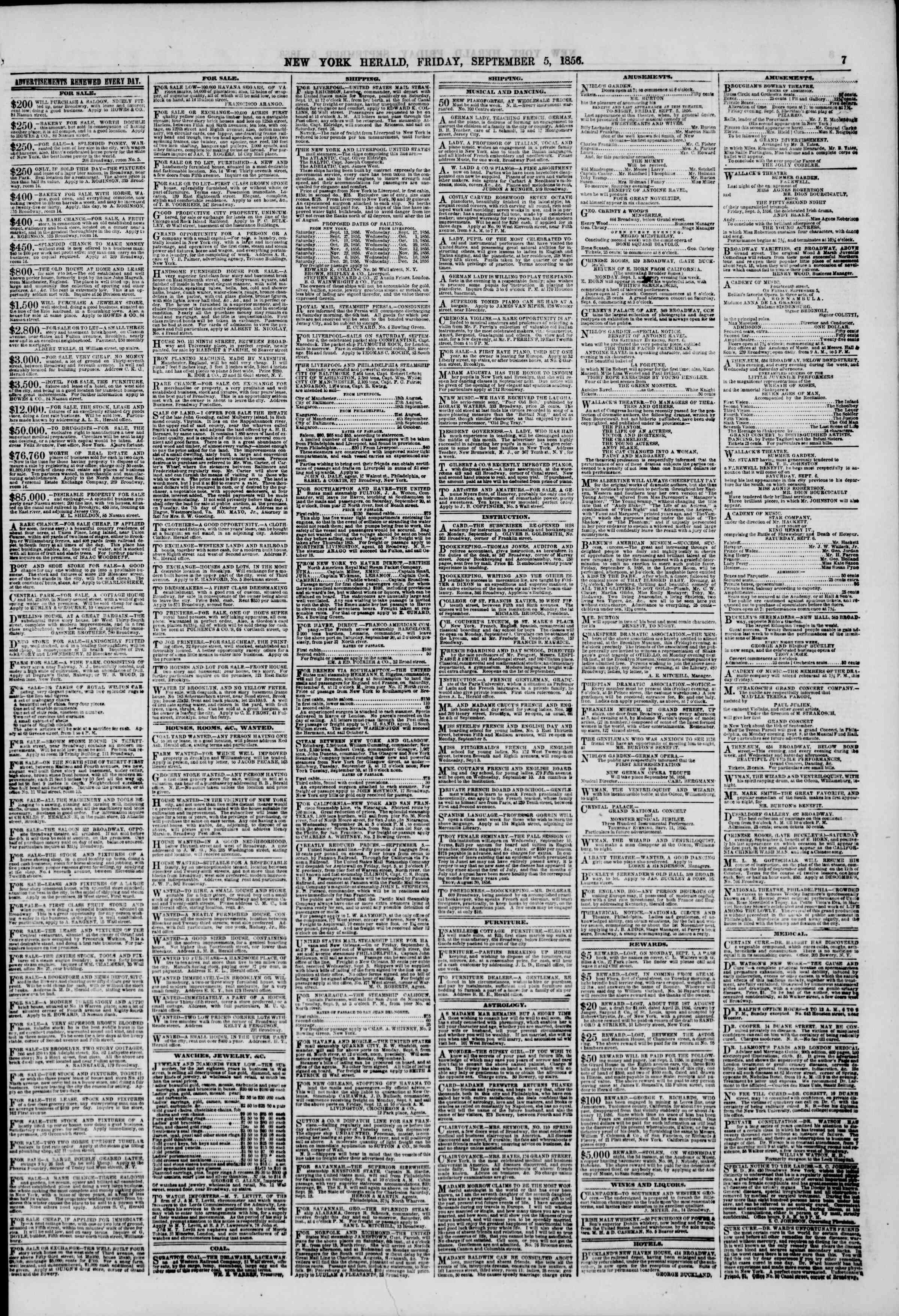 Newspaper of The New York Herald dated September 5, 1856 Page 7
