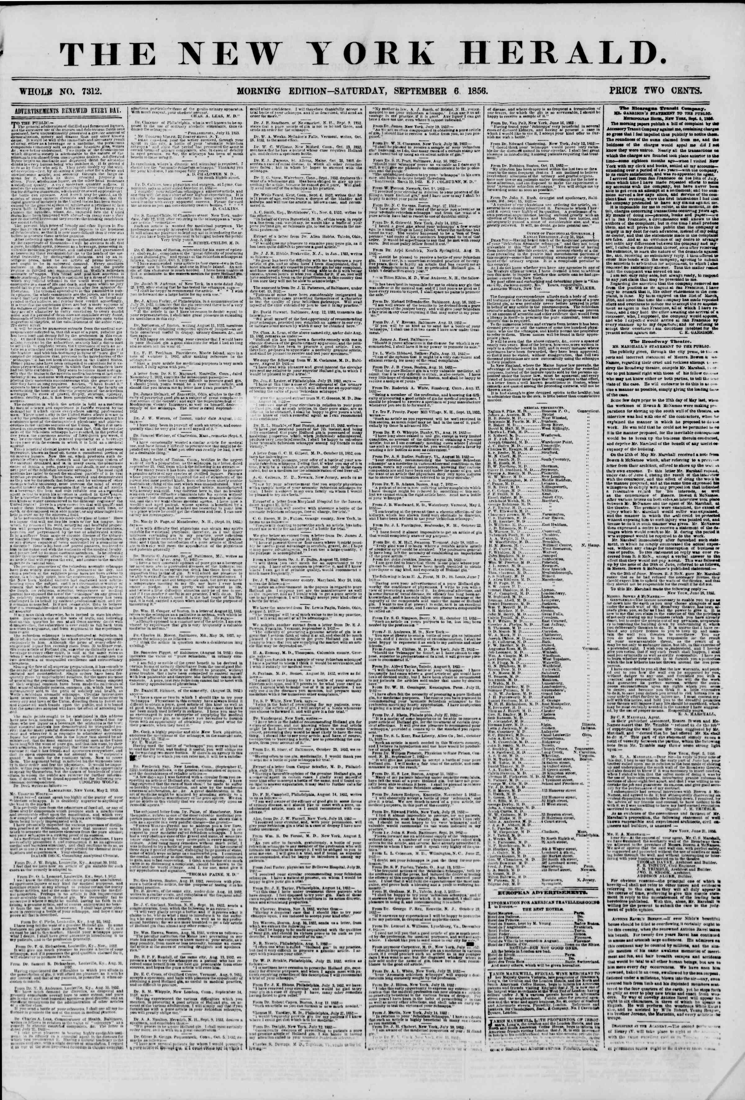Newspaper of The New York Herald dated September 6, 1856 Page 1