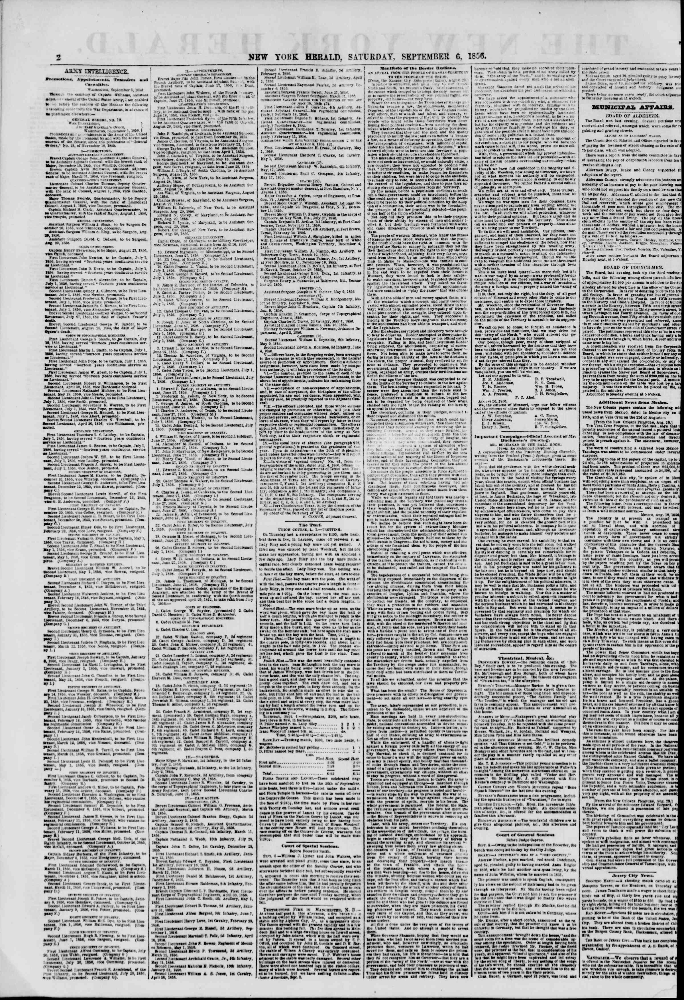 Newspaper of The New York Herald dated September 6, 1856 Page 2