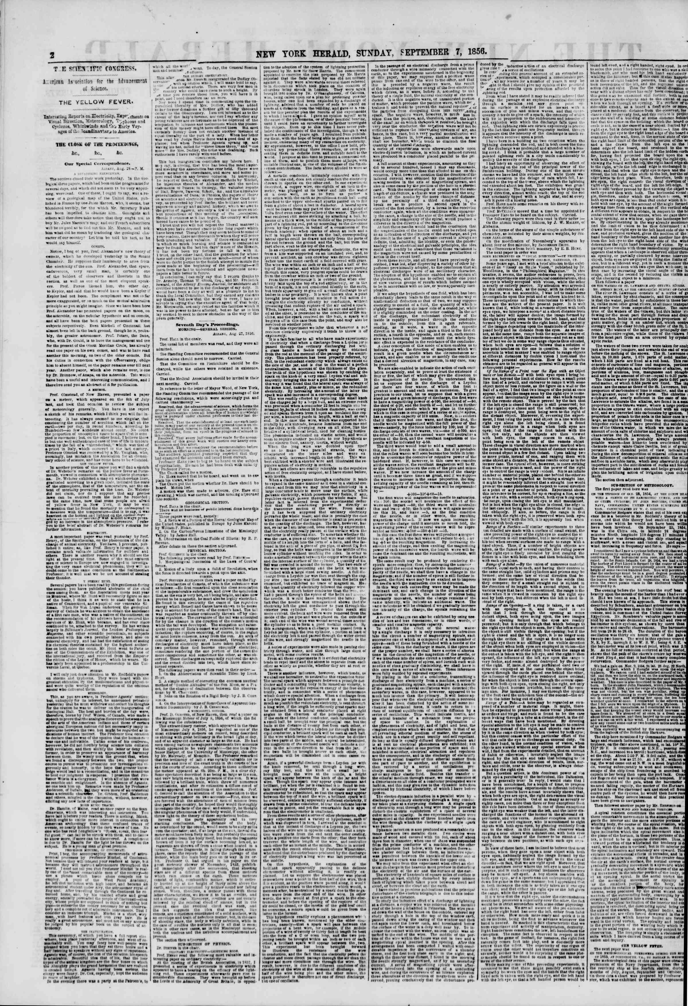 Newspaper of The New York Herald dated September 7, 1856 Page 2