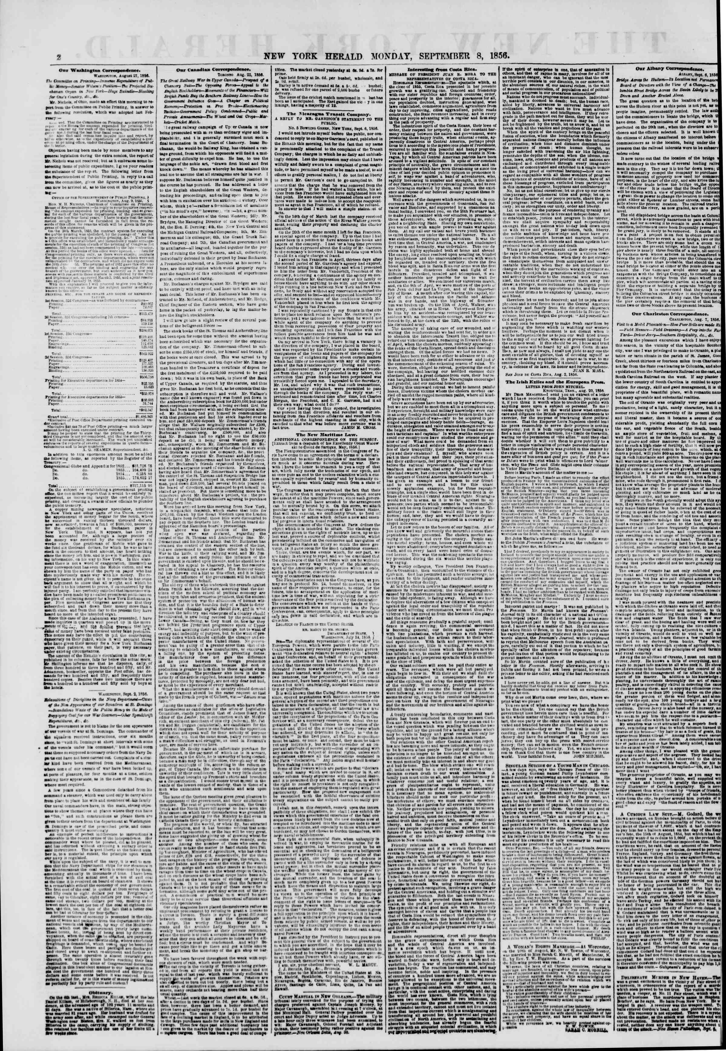Newspaper of The New York Herald dated September 8, 1856 Page 2