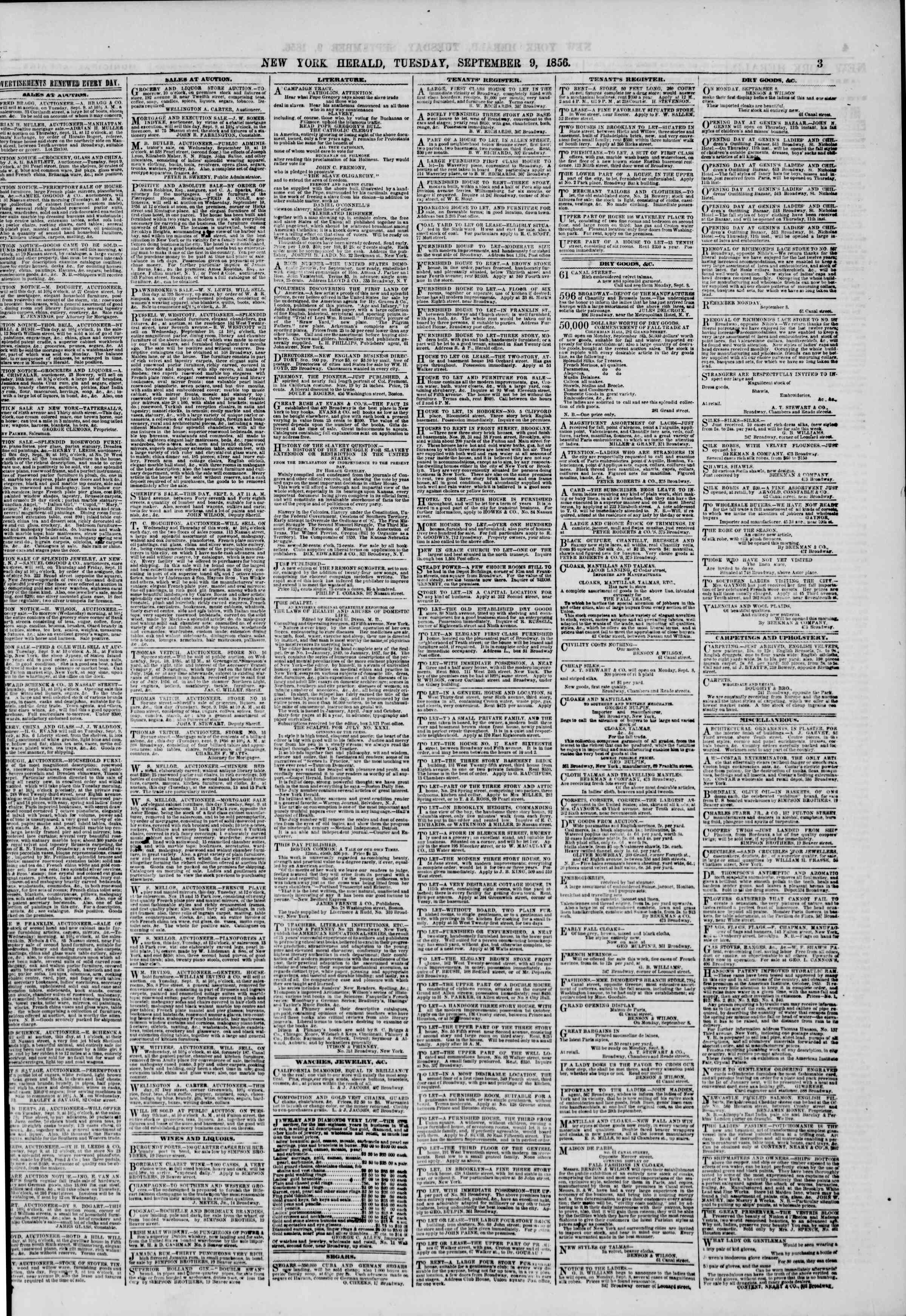 Newspaper of The New York Herald dated September 9, 1856 Page 3