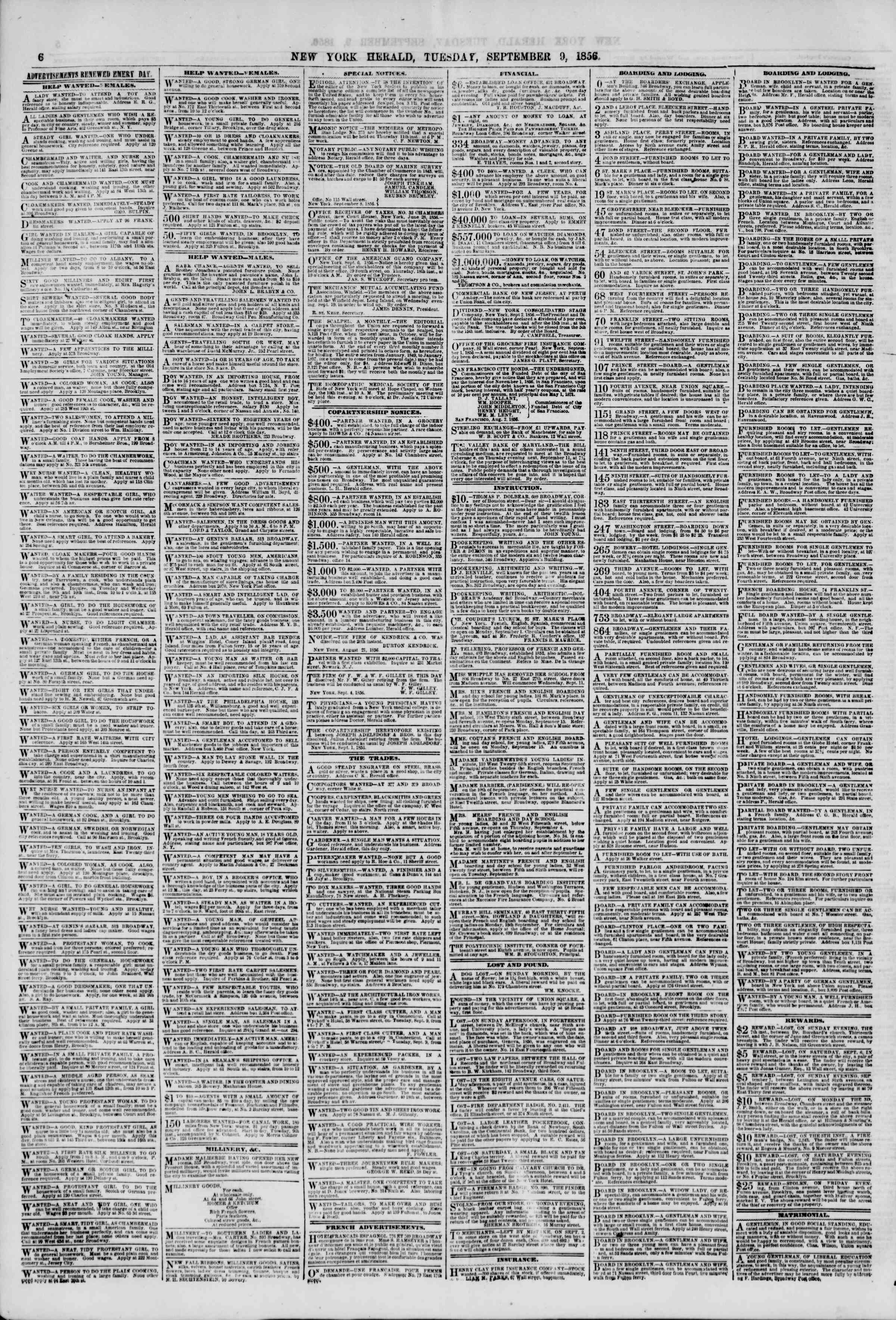 Newspaper of The New York Herald dated September 9, 1856 Page 6
