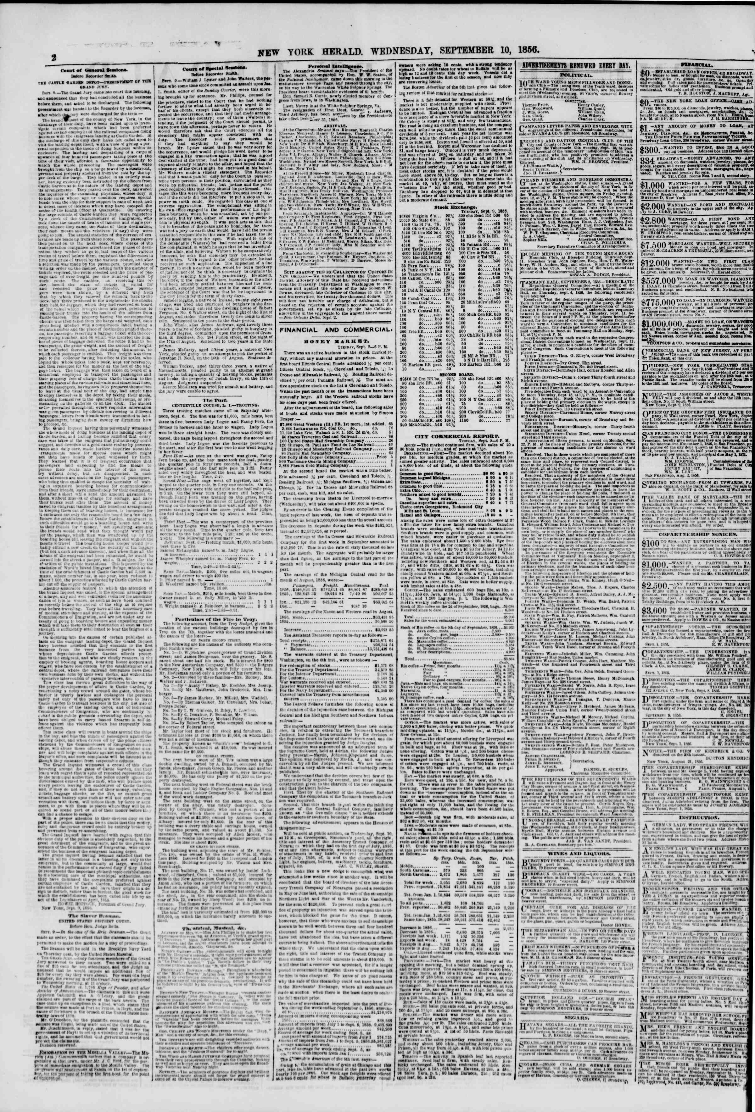 Newspaper of The New York Herald dated September 10, 1856 Page 2
