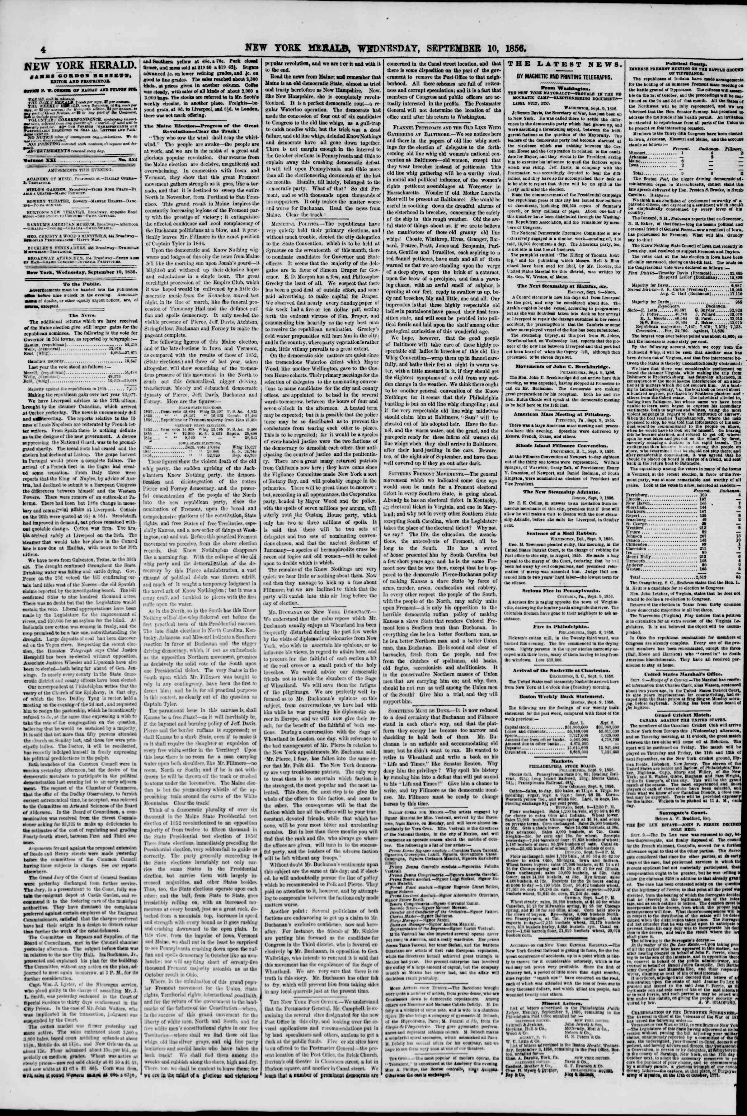 Newspaper of The New York Herald dated September 10, 1856 Page 4