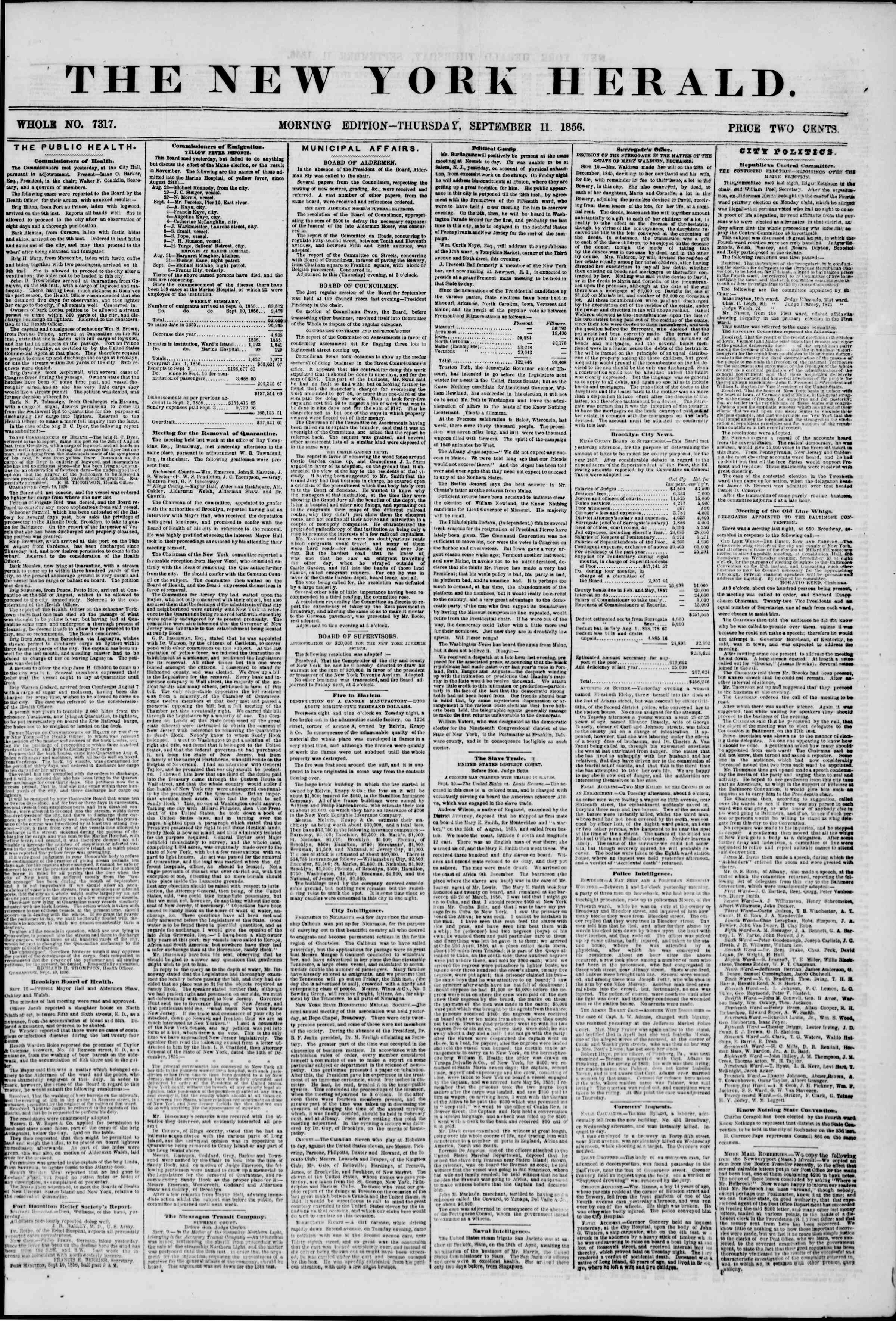Newspaper of The New York Herald dated September 11, 1856 Page 1
