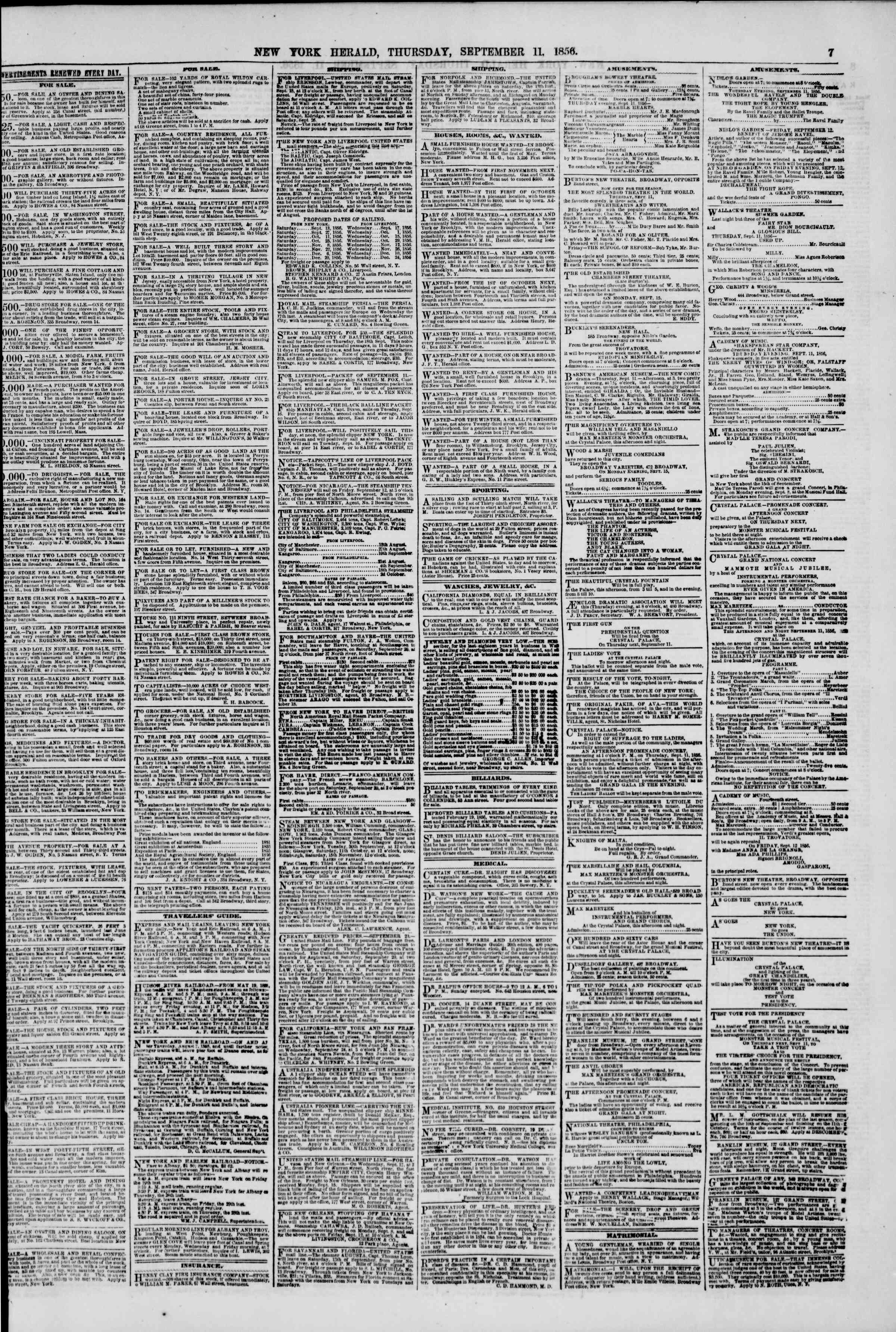 Newspaper of The New York Herald dated September 11, 1856 Page 7