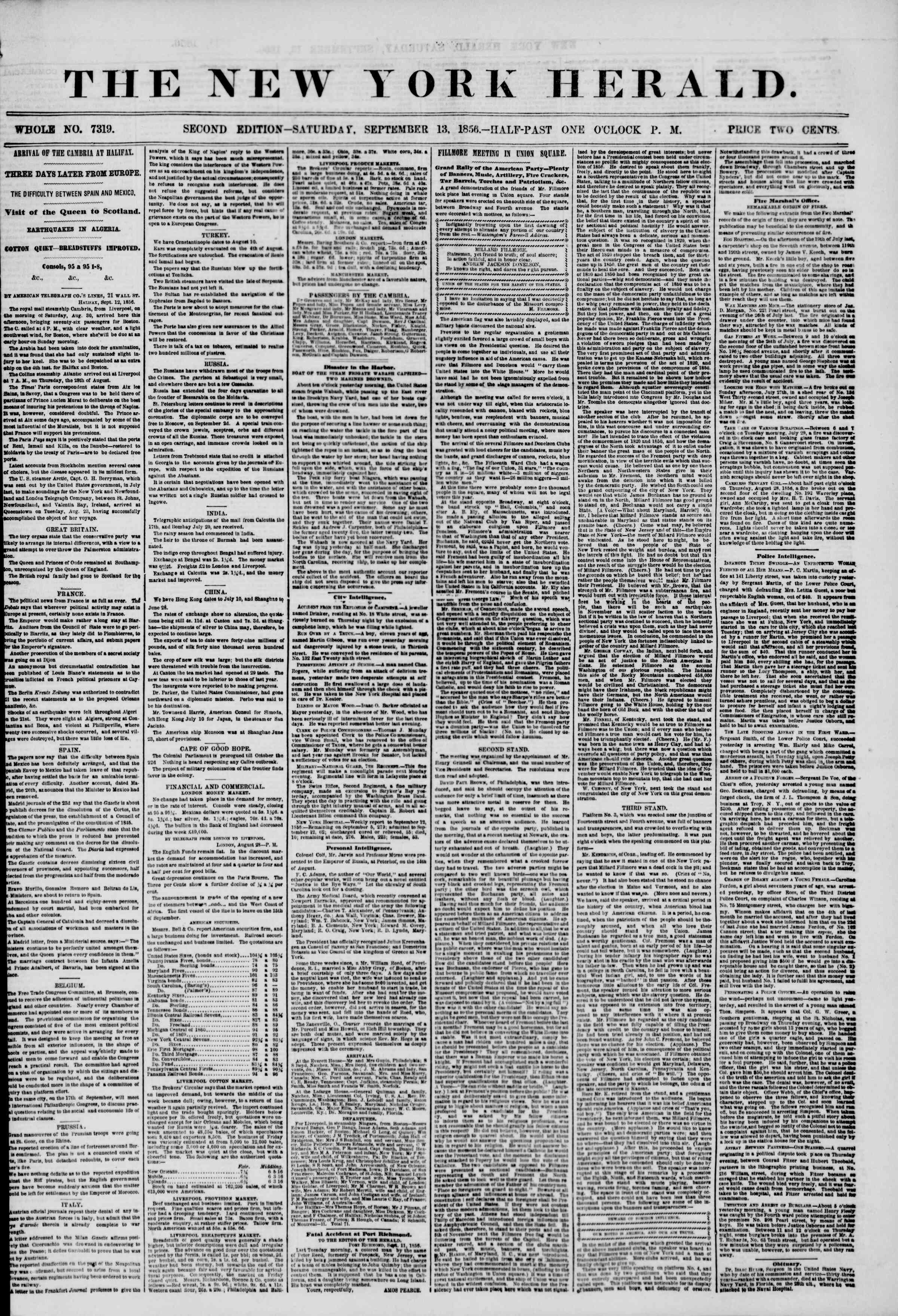 Newspaper of The New York Herald dated September 13, 1856 Page 1