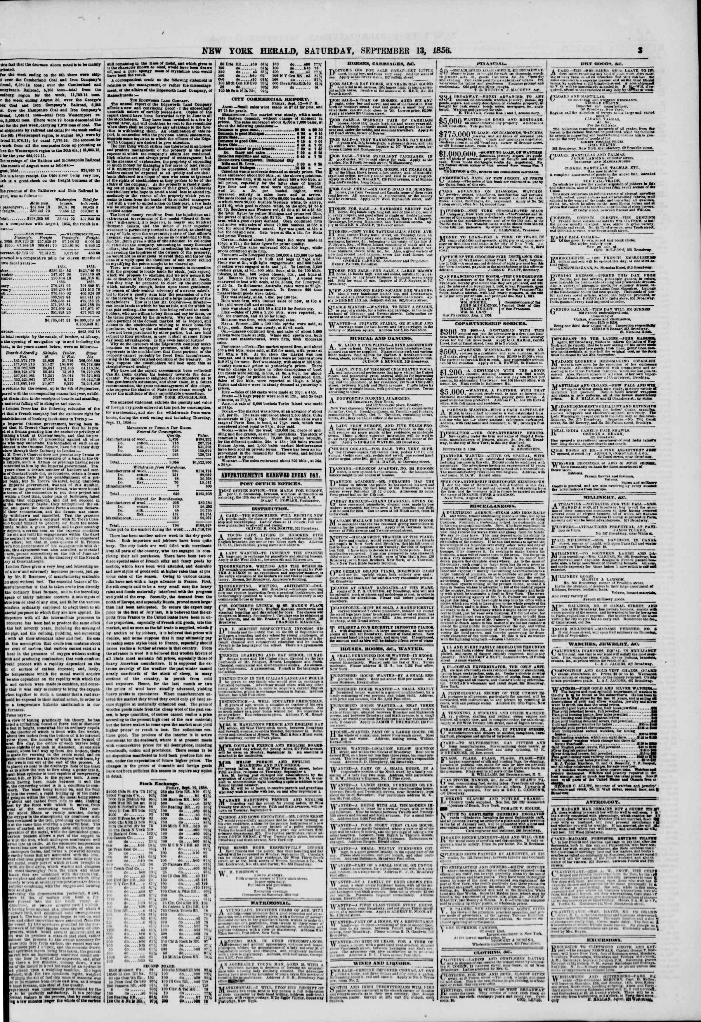 Newspaper of The New York Herald dated September 13, 1856 Page 3