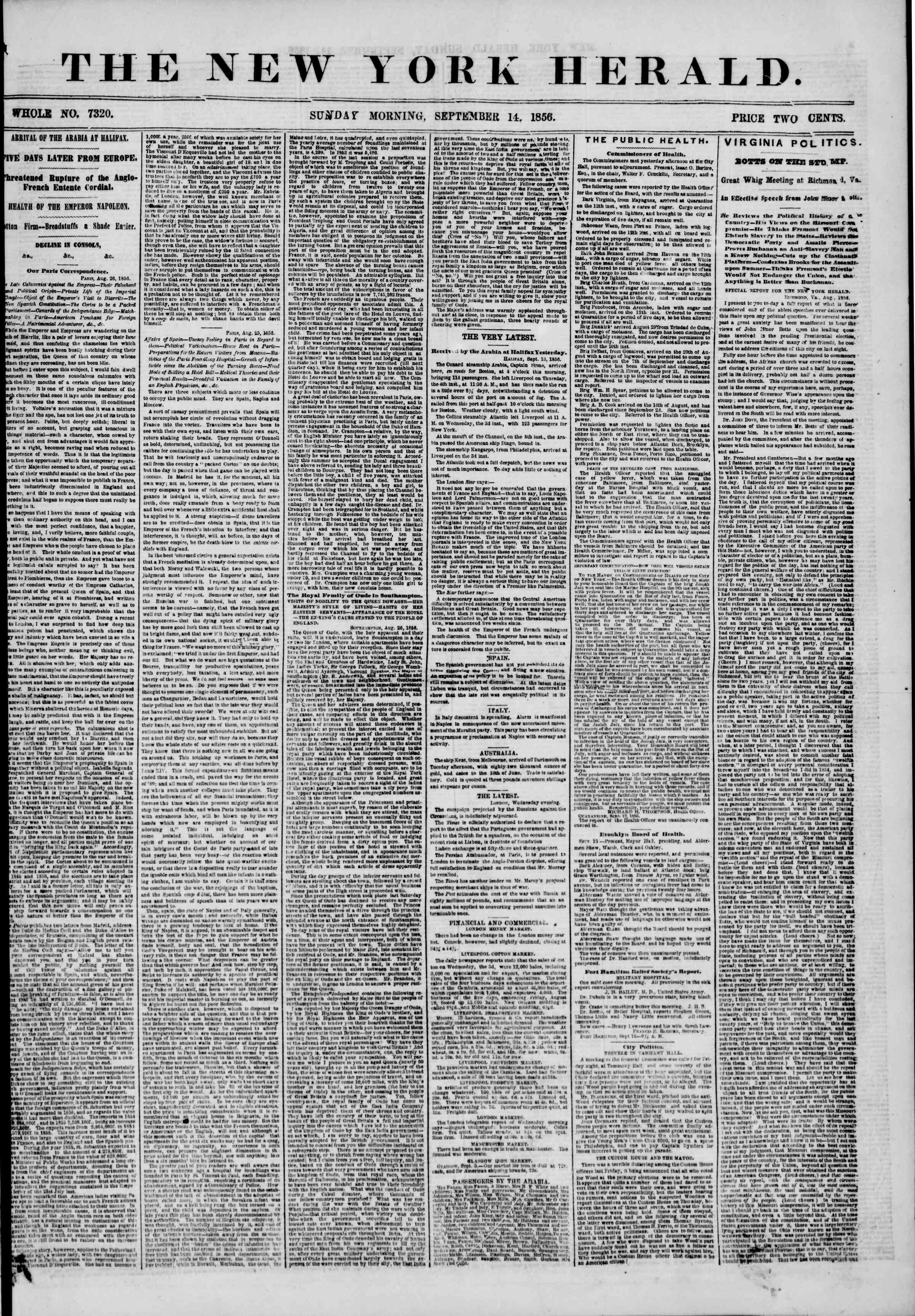Newspaper of The New York Herald dated 14 Eylül 1856 Page 1