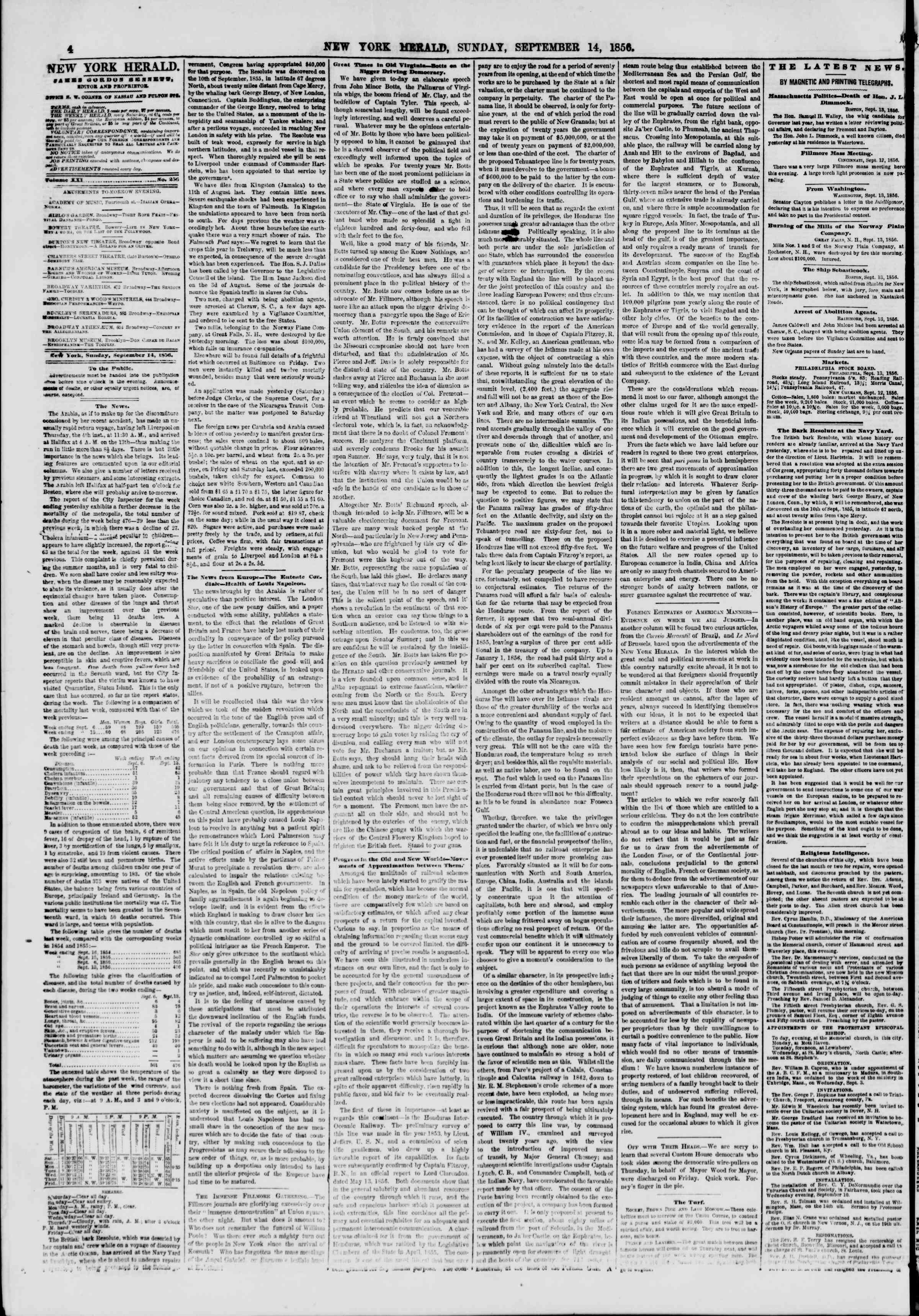 Newspaper of The New York Herald dated September 14, 1856 Page 4