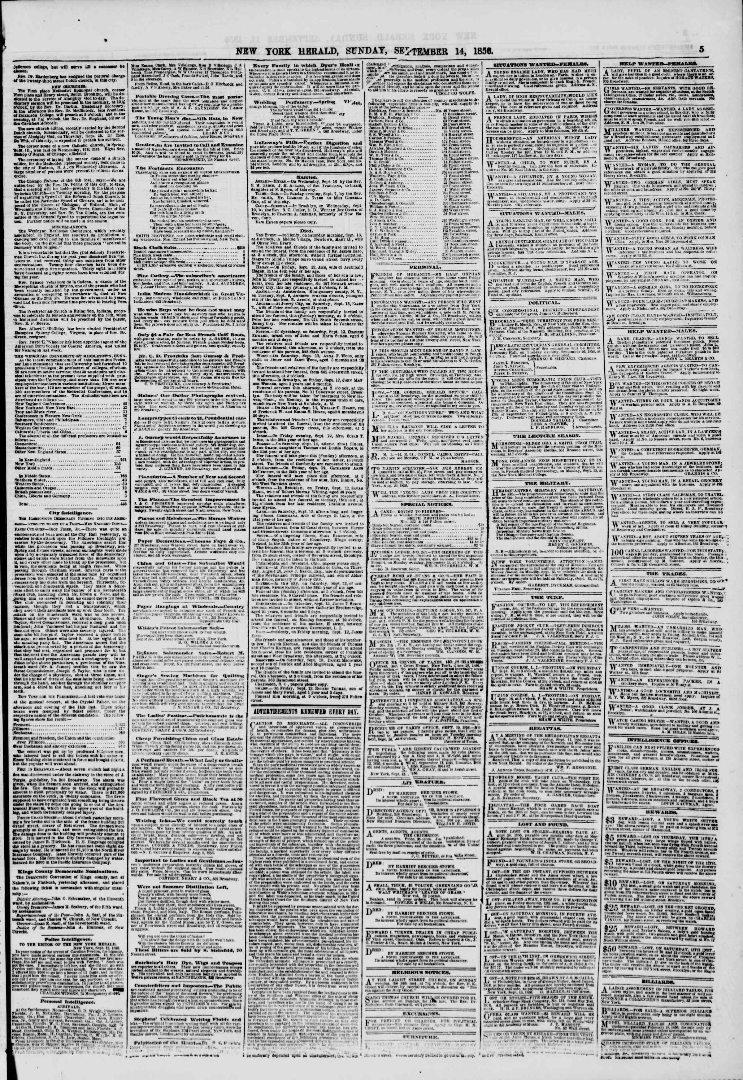Newspaper of The New York Herald dated September 14, 1856 Page 5