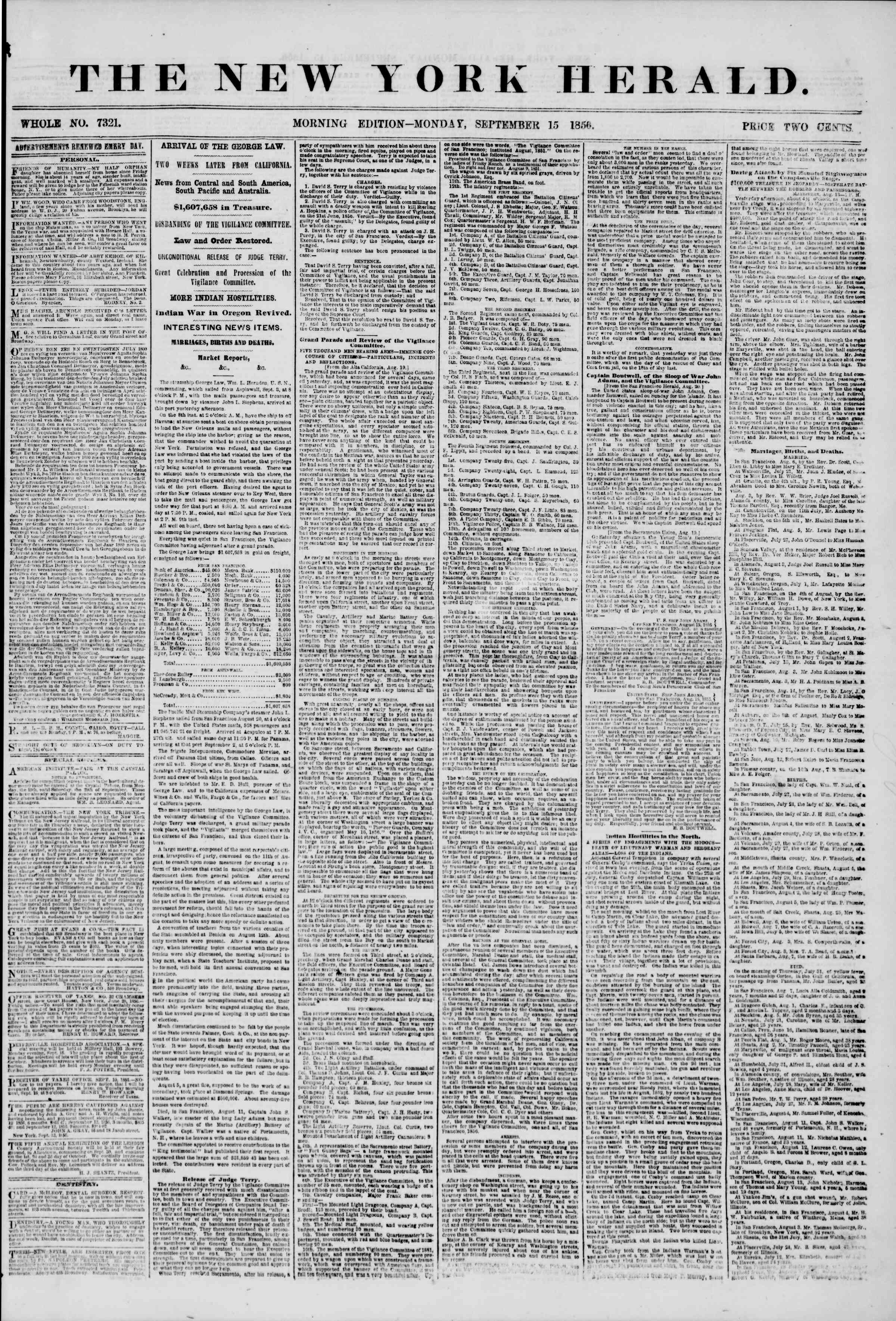 Newspaper of The New York Herald dated September 15, 1856 Page 1