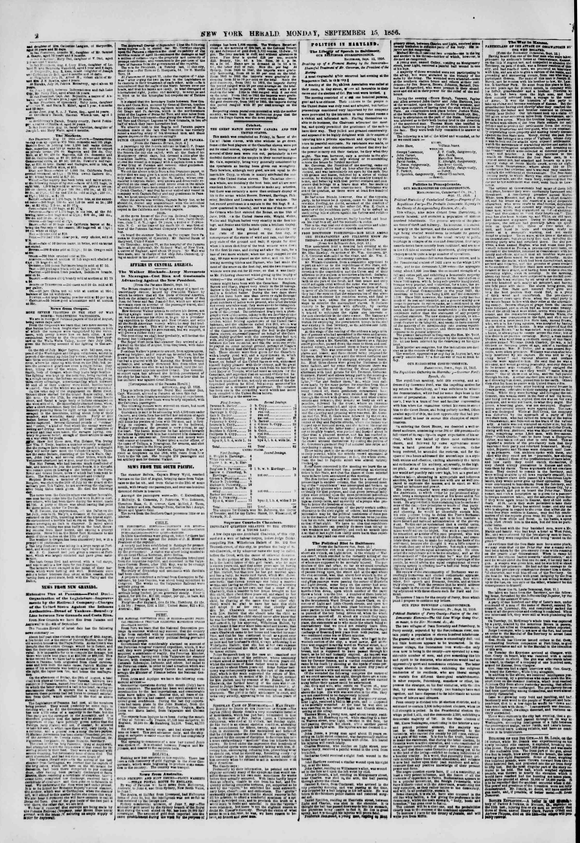 Newspaper of The New York Herald dated September 15, 1856 Page 2
