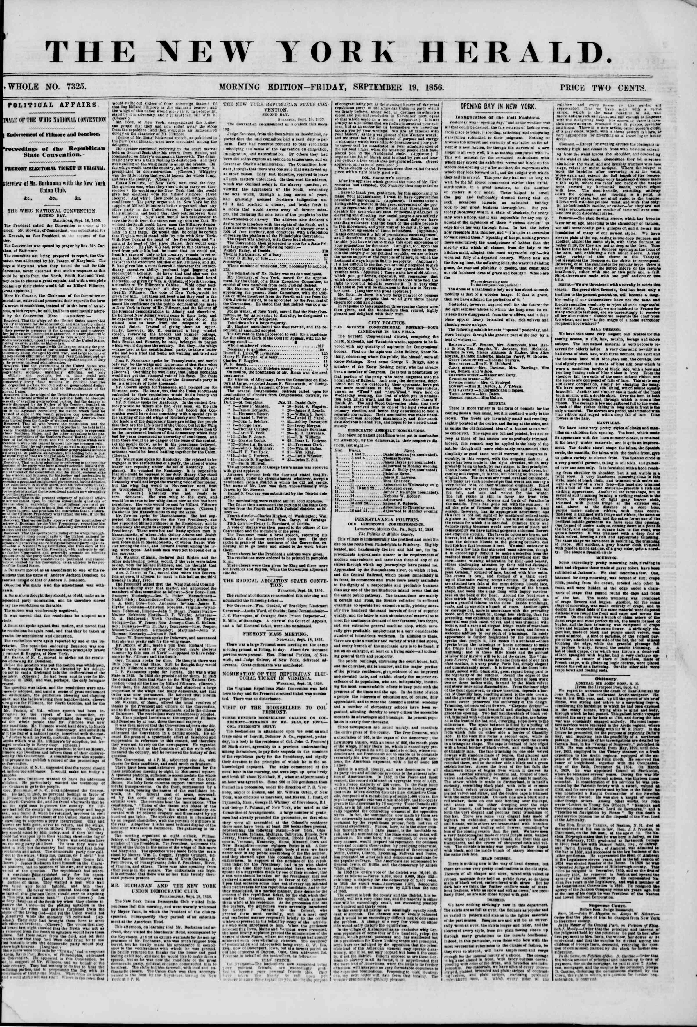 Newspaper of The New York Herald dated September 19, 1856 Page 1