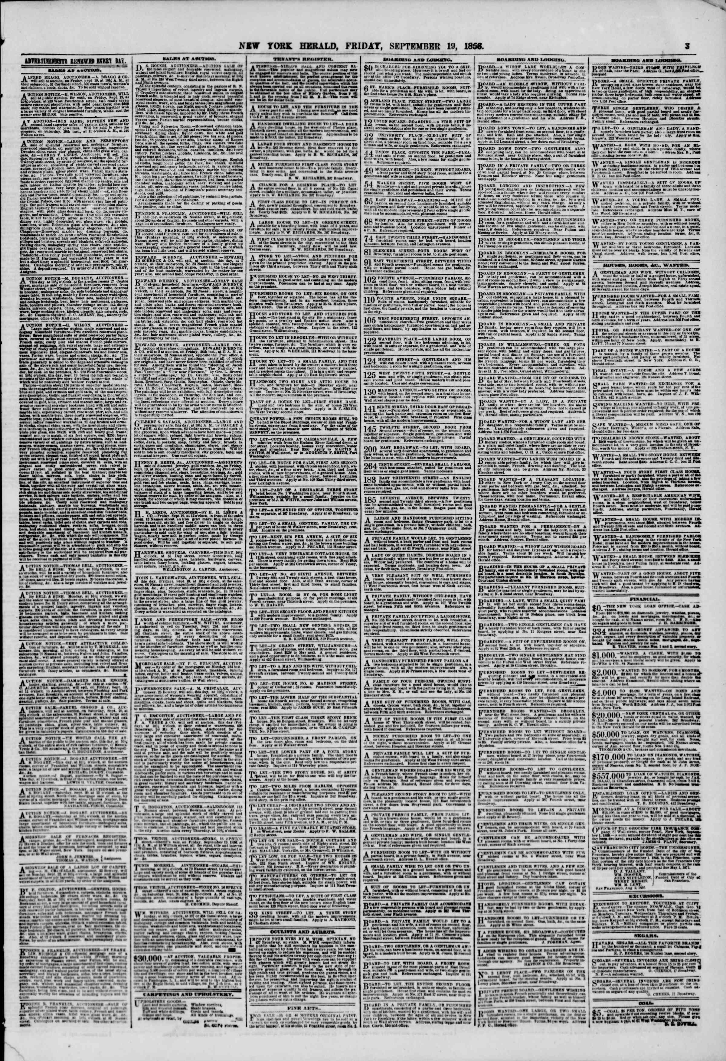 Newspaper of The New York Herald dated September 19, 1856 Page 3