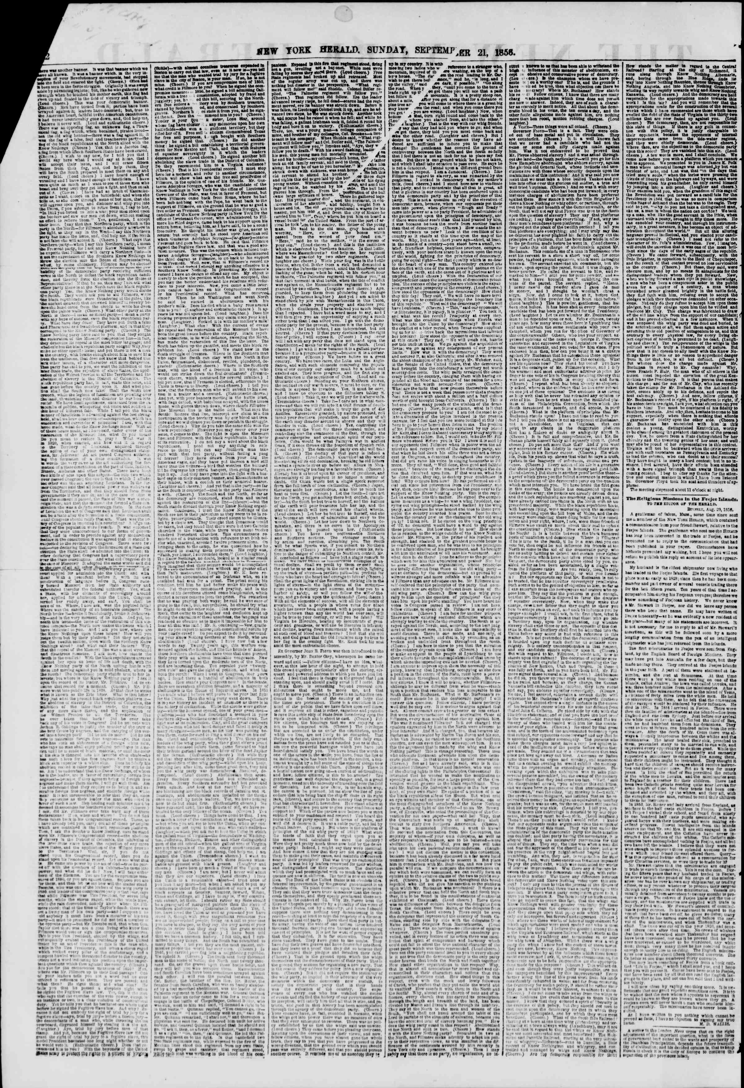 Newspaper of The New York Herald dated September 21, 1856 Page 2