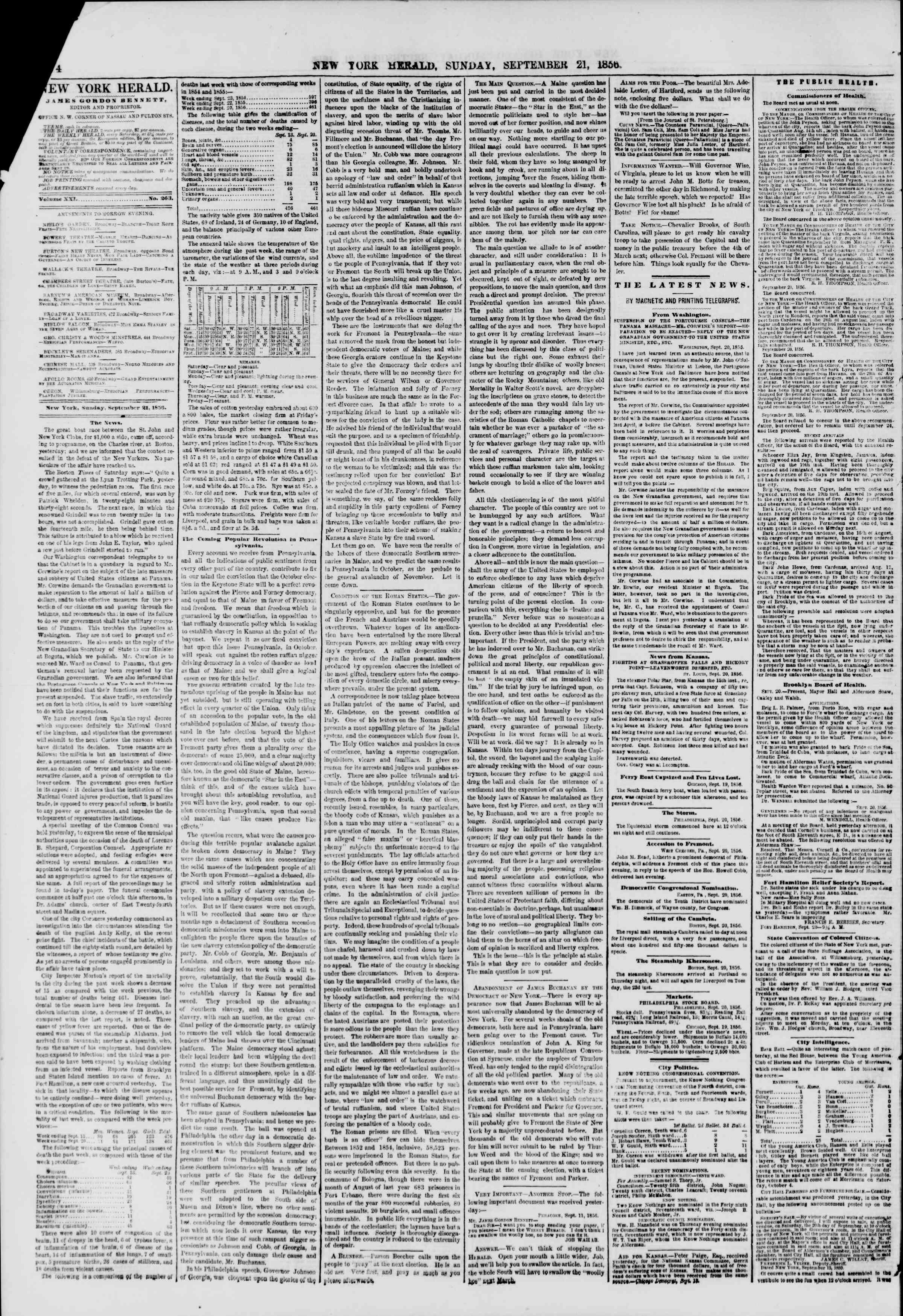 Newspaper of The New York Herald dated September 21, 1856 Page 4