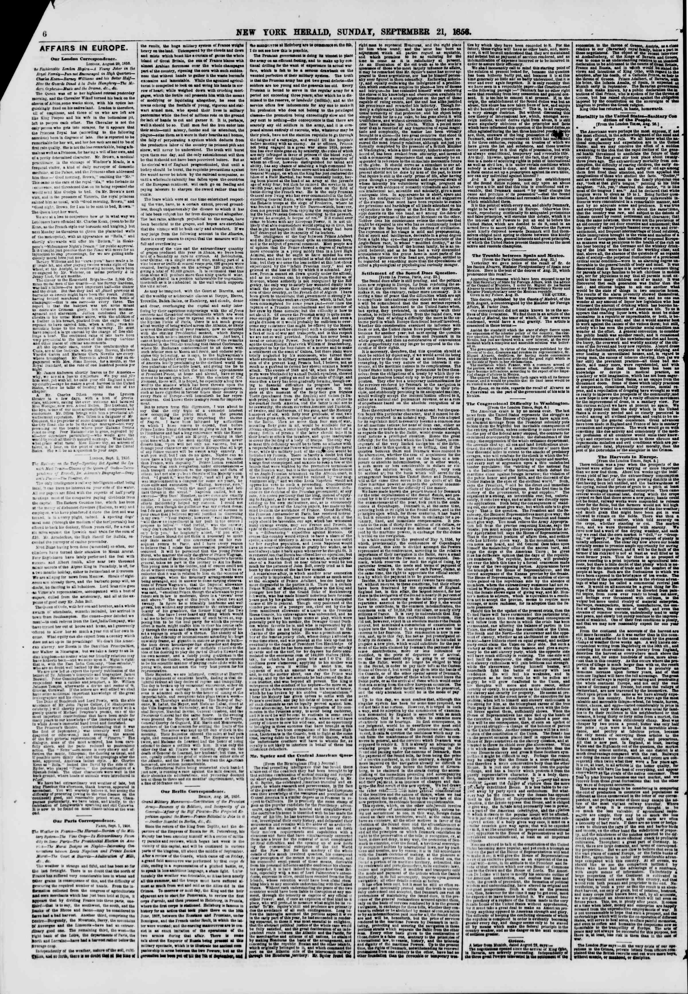 Newspaper of The New York Herald dated September 21, 1856 Page 6