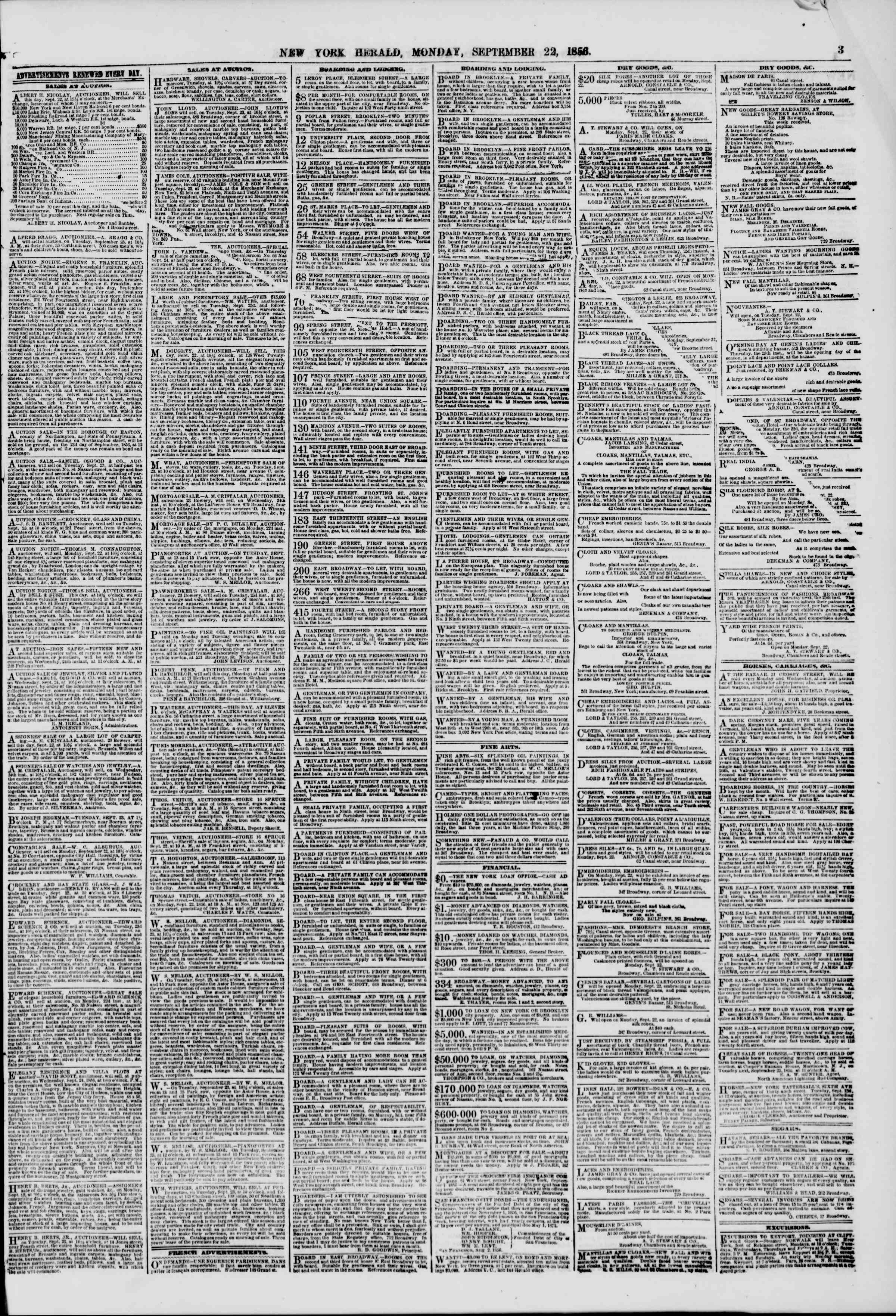 Newspaper of The New York Herald dated September 22, 1856 Page 3