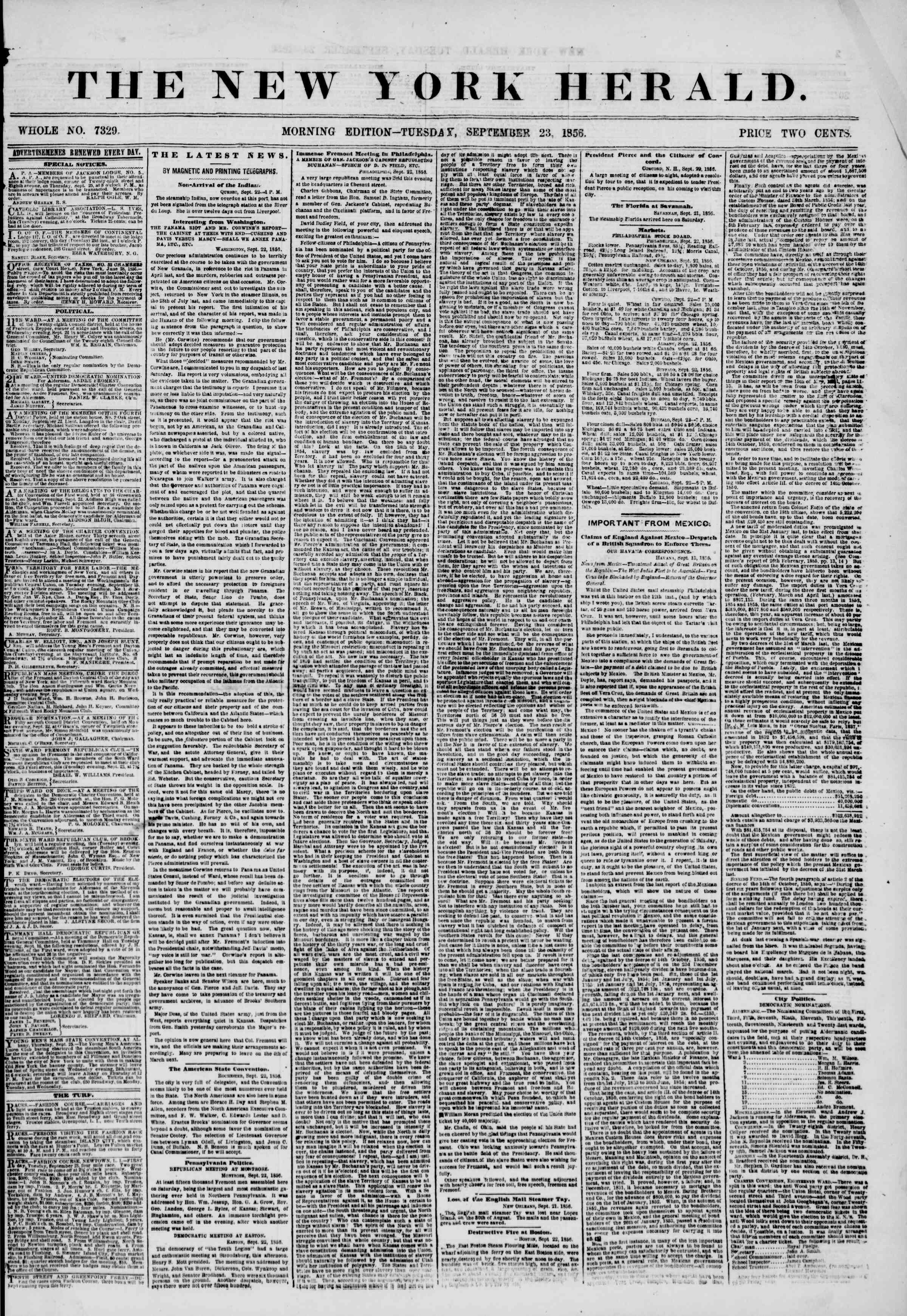 Newspaper of The New York Herald dated September 23, 1856 Page 1