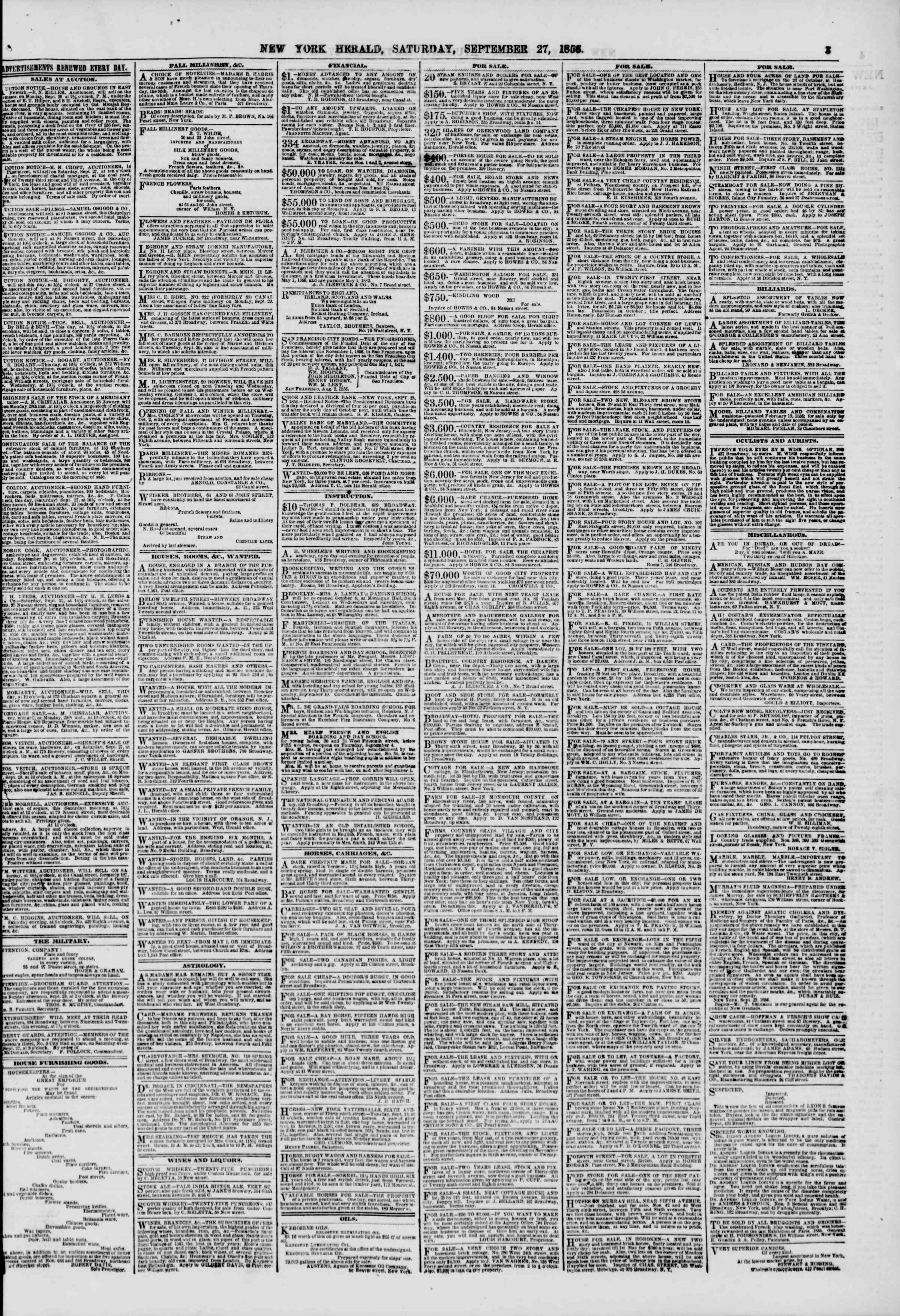 Newspaper of The New York Herald dated September 27, 1856 Page 3