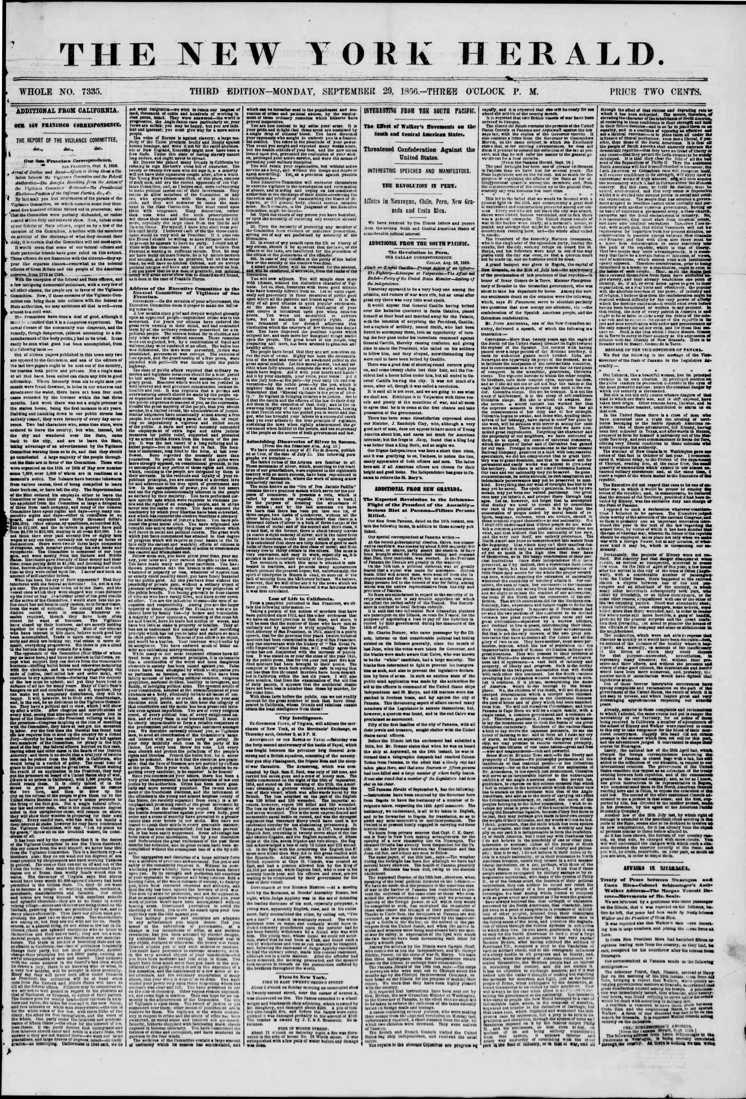 Newspaper of The New York Herald dated September 29, 1856 Page 1