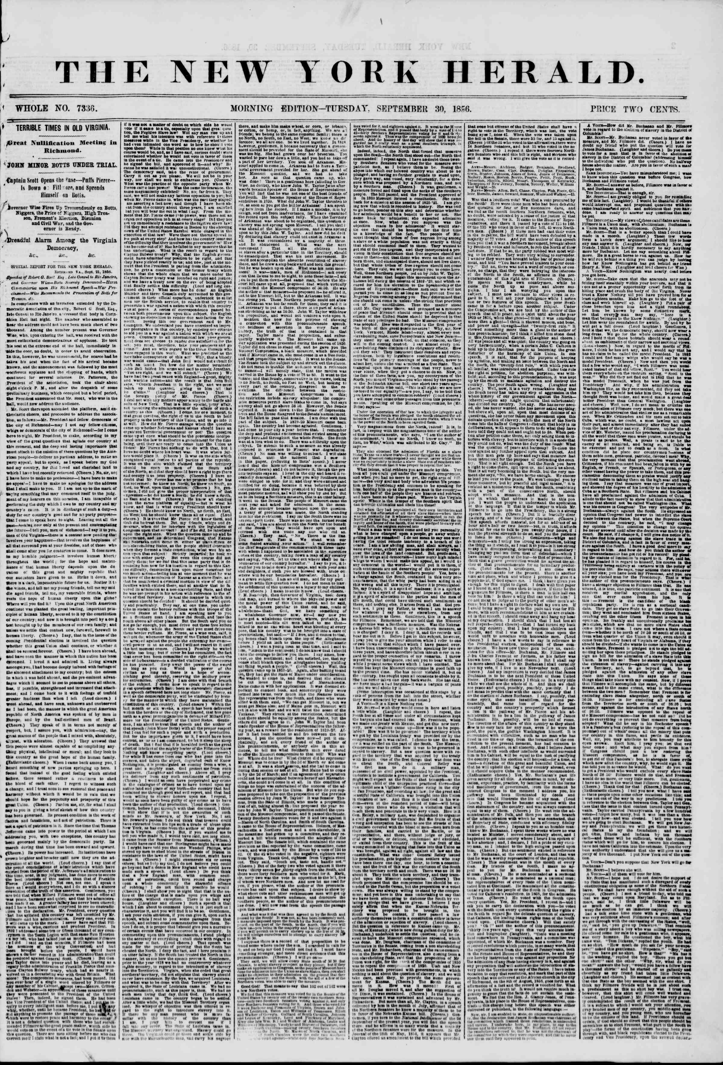 Newspaper of The New York Herald dated September 30, 1856 Page 1