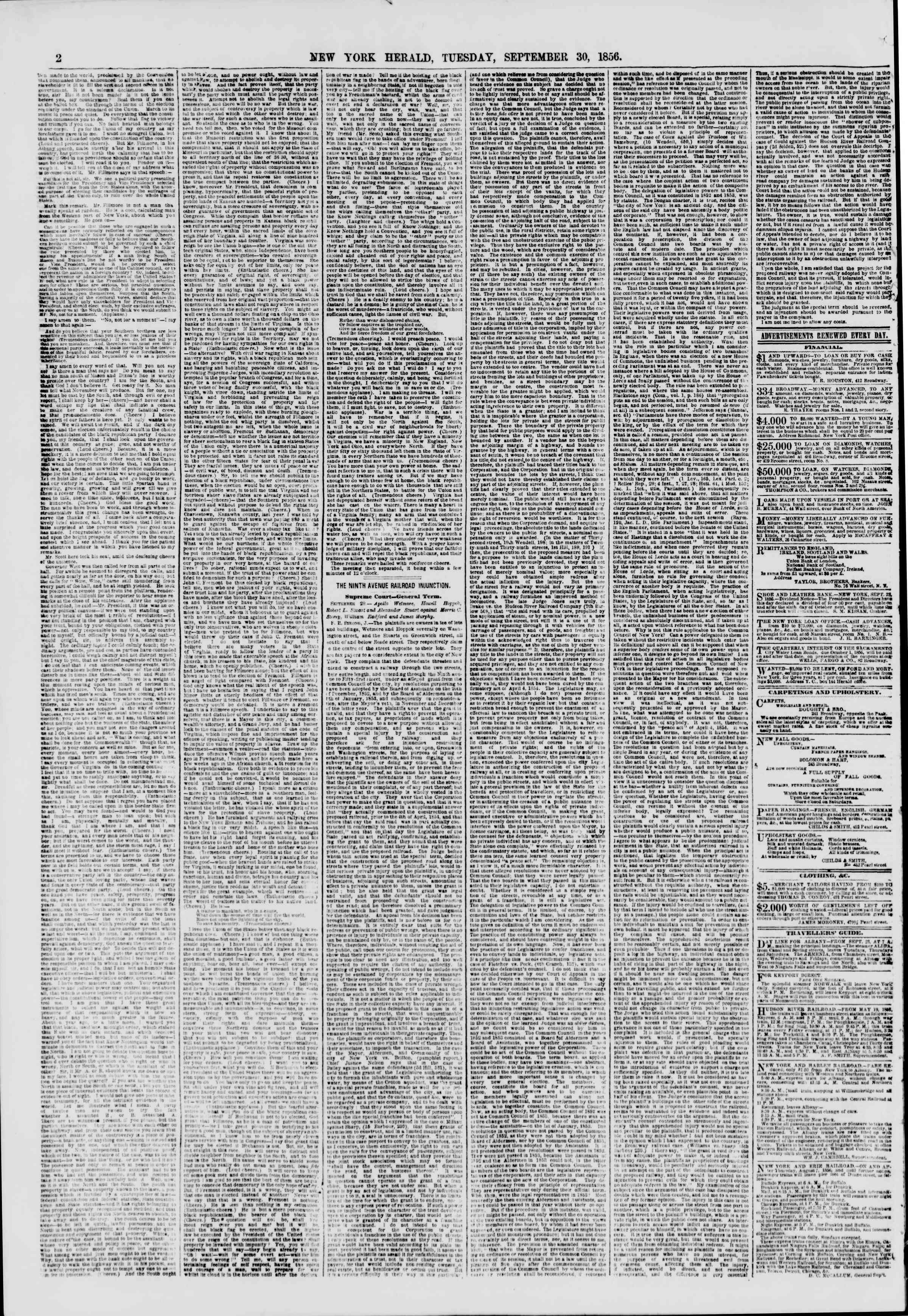 Newspaper of The New York Herald dated September 30, 1856 Page 2