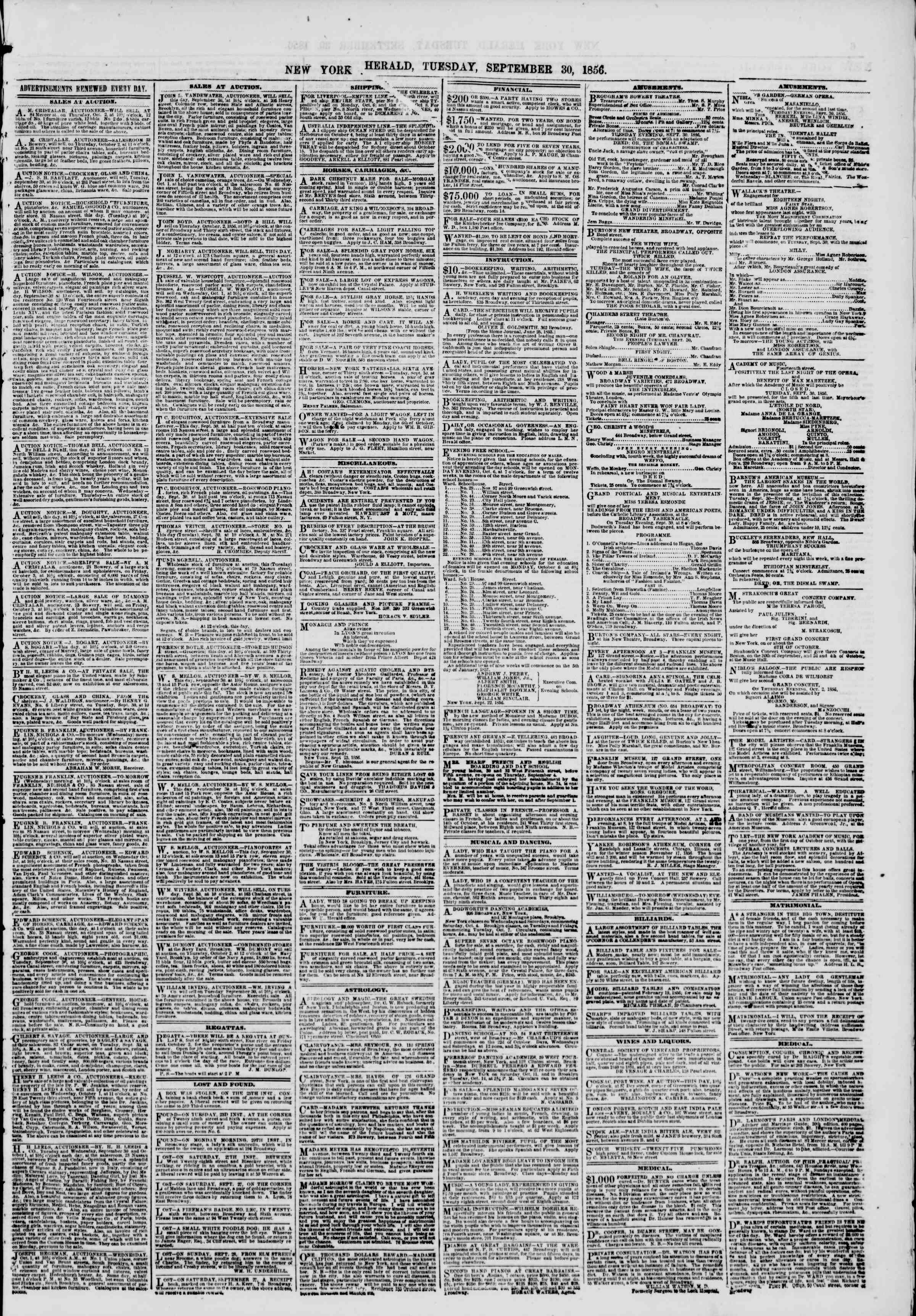 Newspaper of The New York Herald dated September 30, 1856 Page 5