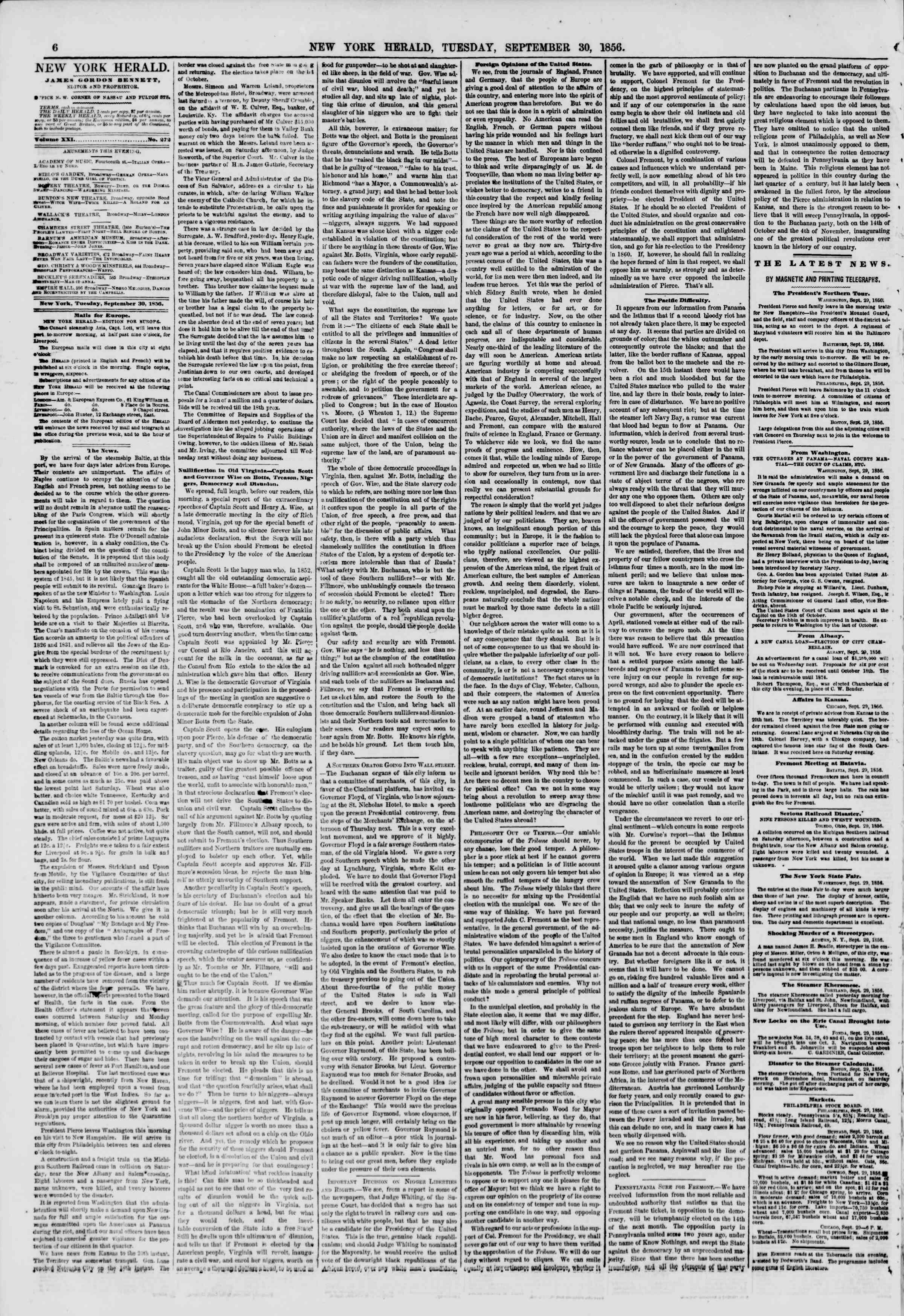 Newspaper of The New York Herald dated September 30, 1856 Page 6