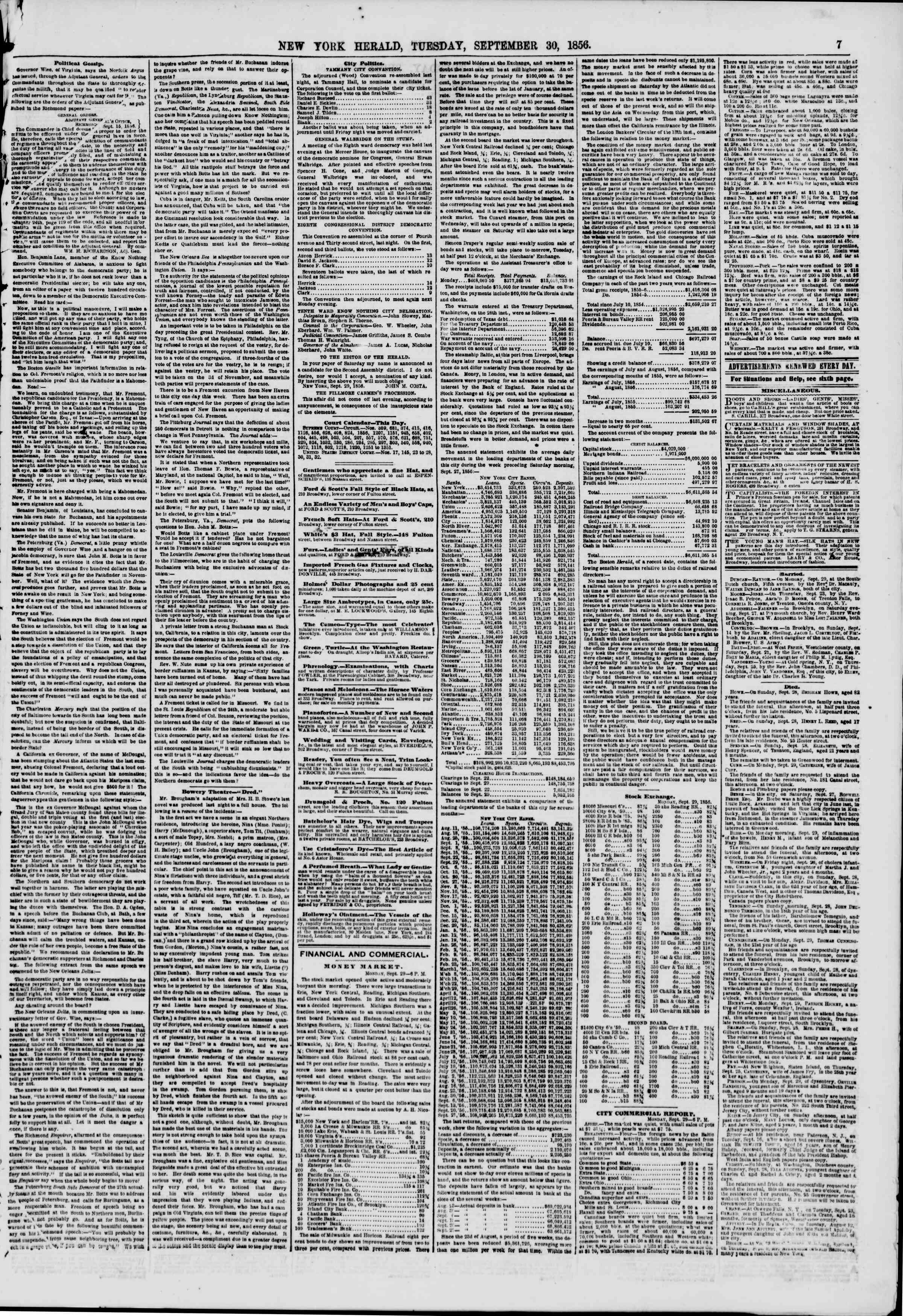 Newspaper of The New York Herald dated September 30, 1856 Page 7