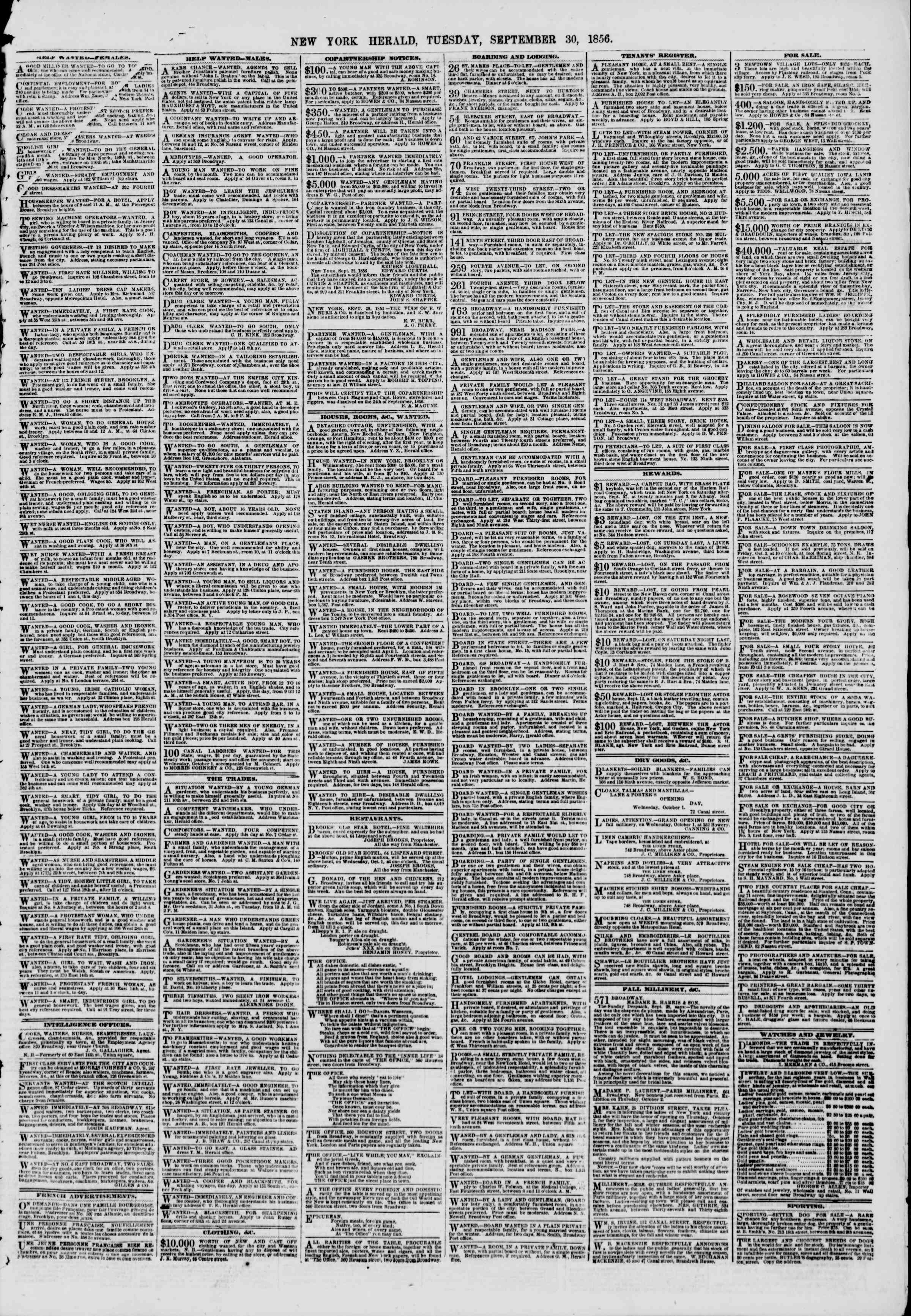 Newspaper of The New York Herald dated September 30, 1856 Page 9