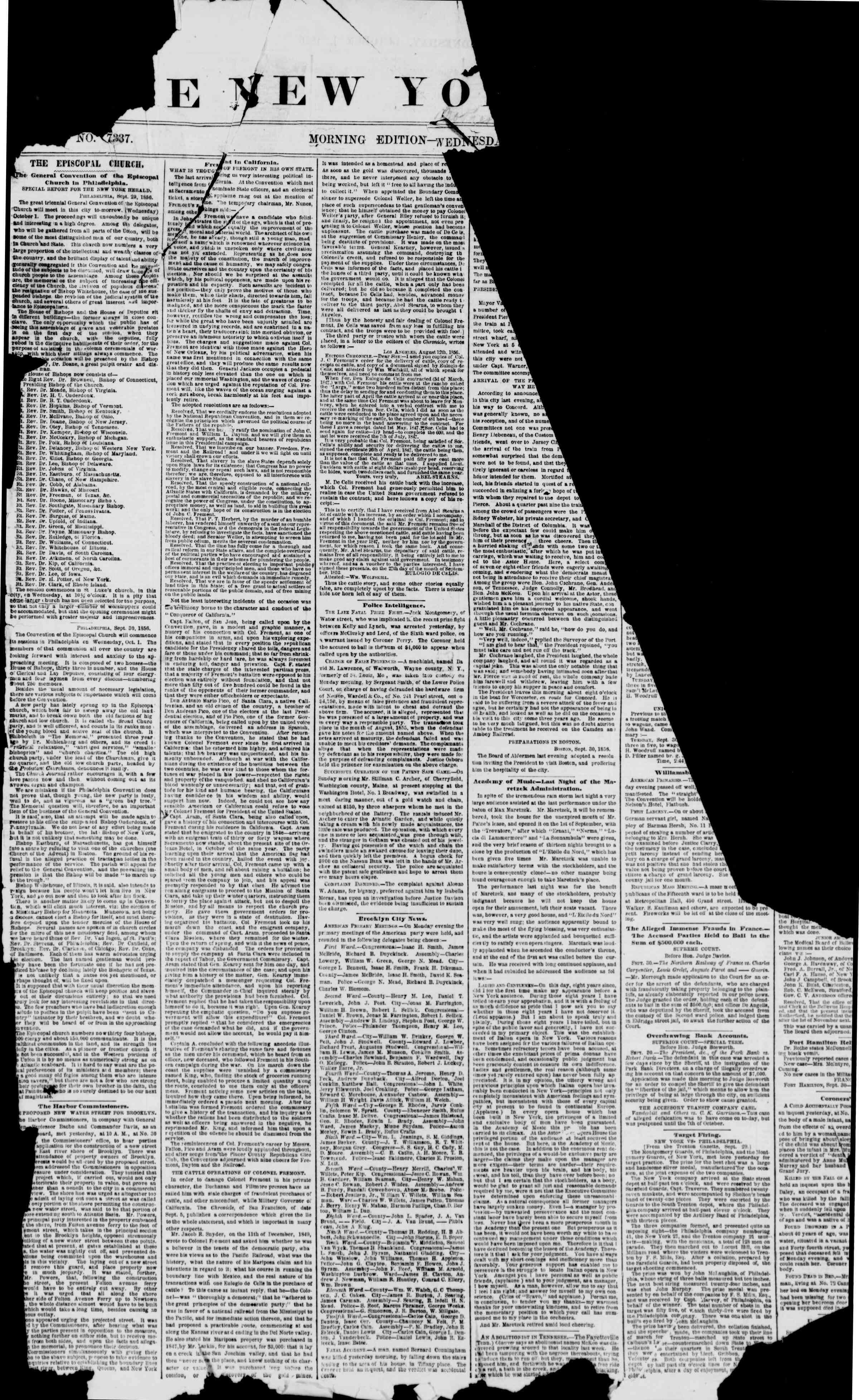 Newspaper of The New York Herald dated October 1, 1856 Page 1