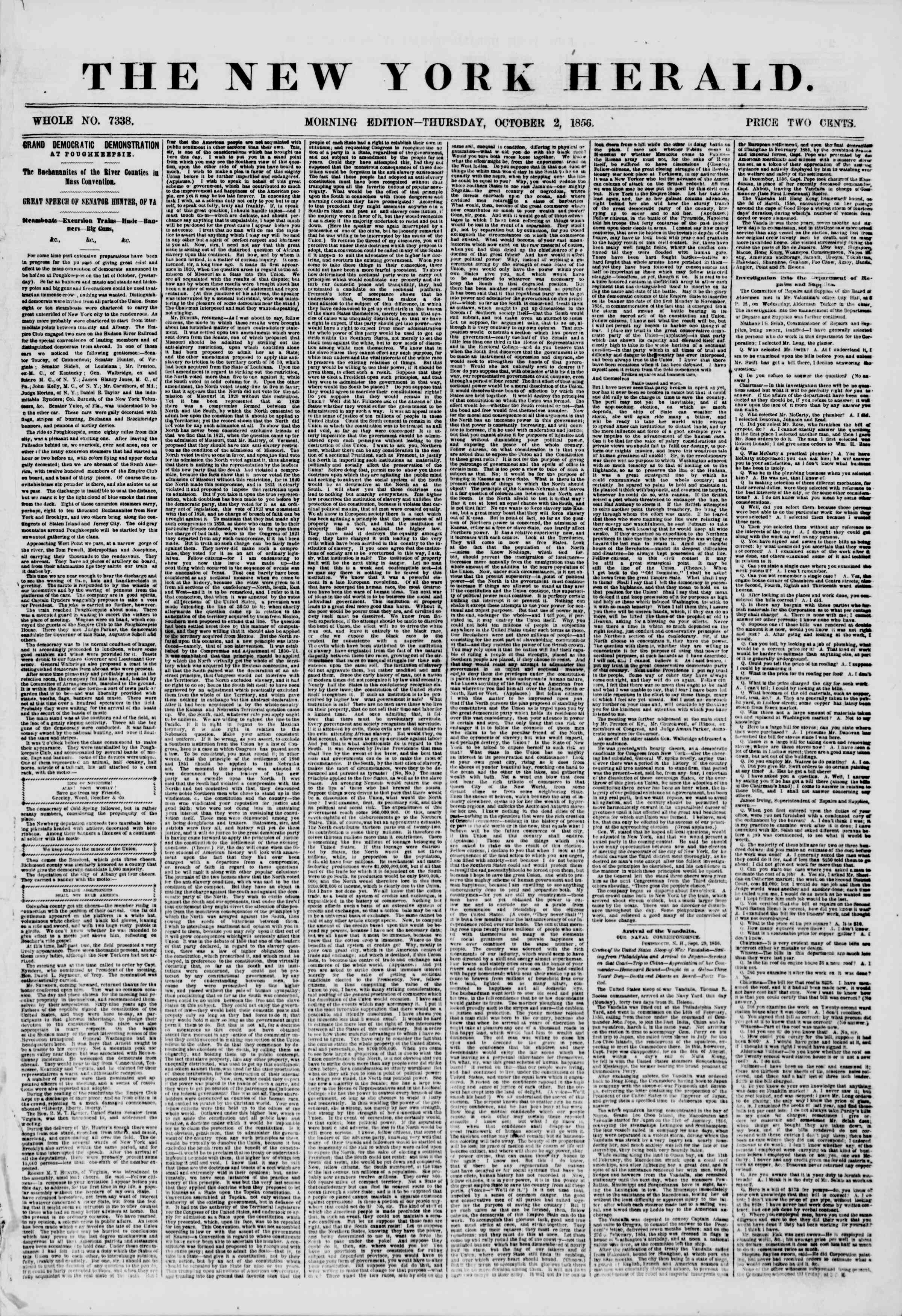 Newspaper of The New York Herald dated October 2, 1856 Page 1
