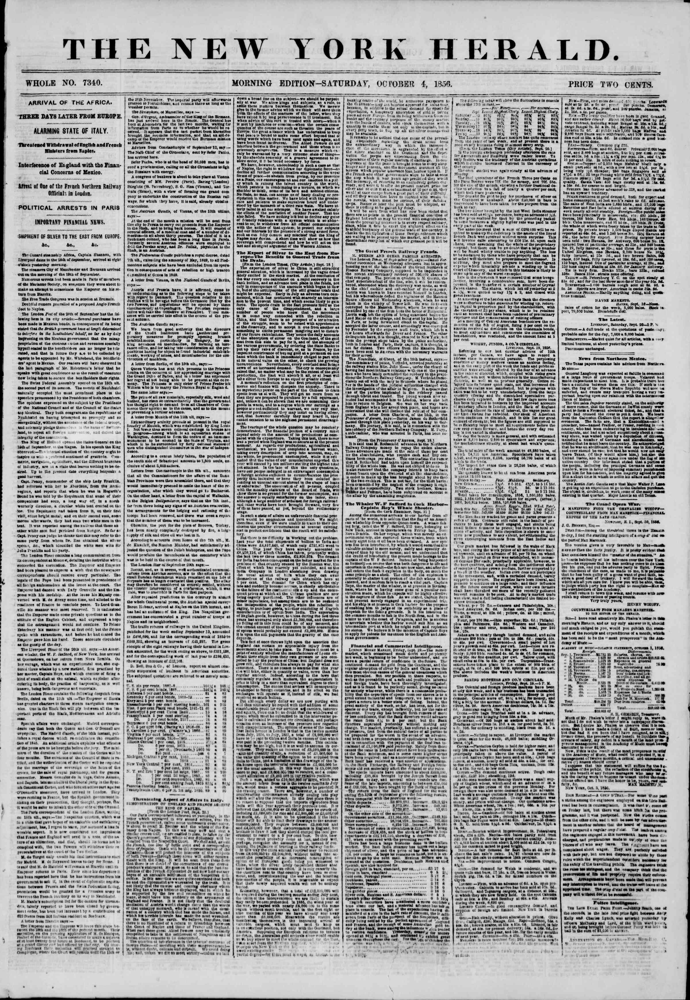 Newspaper of The New York Herald dated October 4, 1856 Page 1