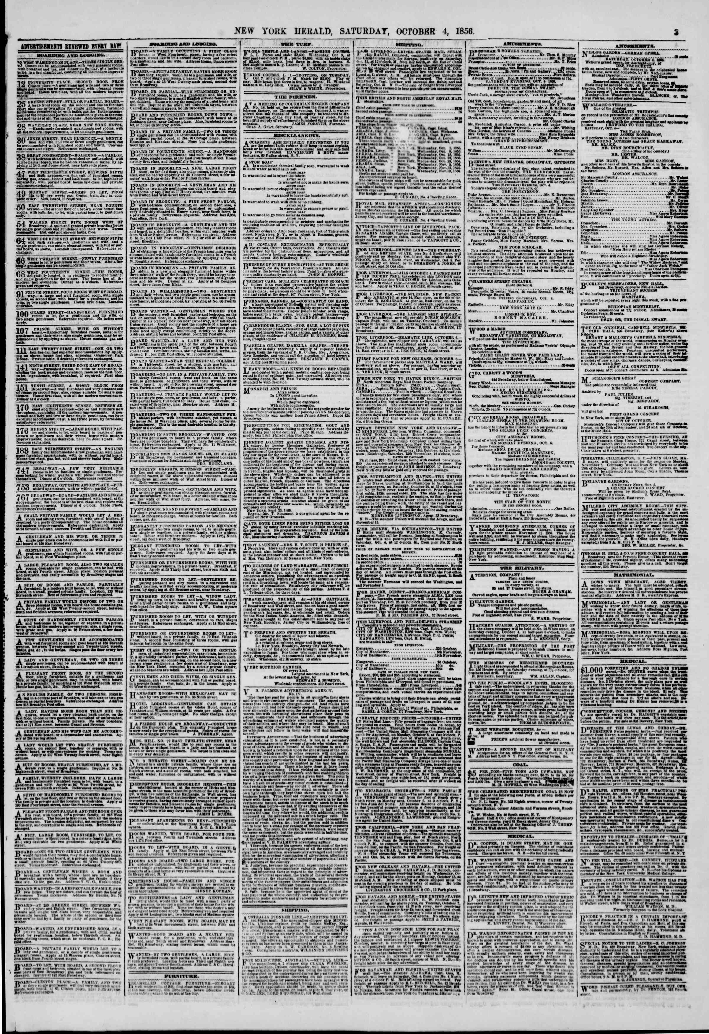 Newspaper of The New York Herald dated October 4, 1856 Page 3