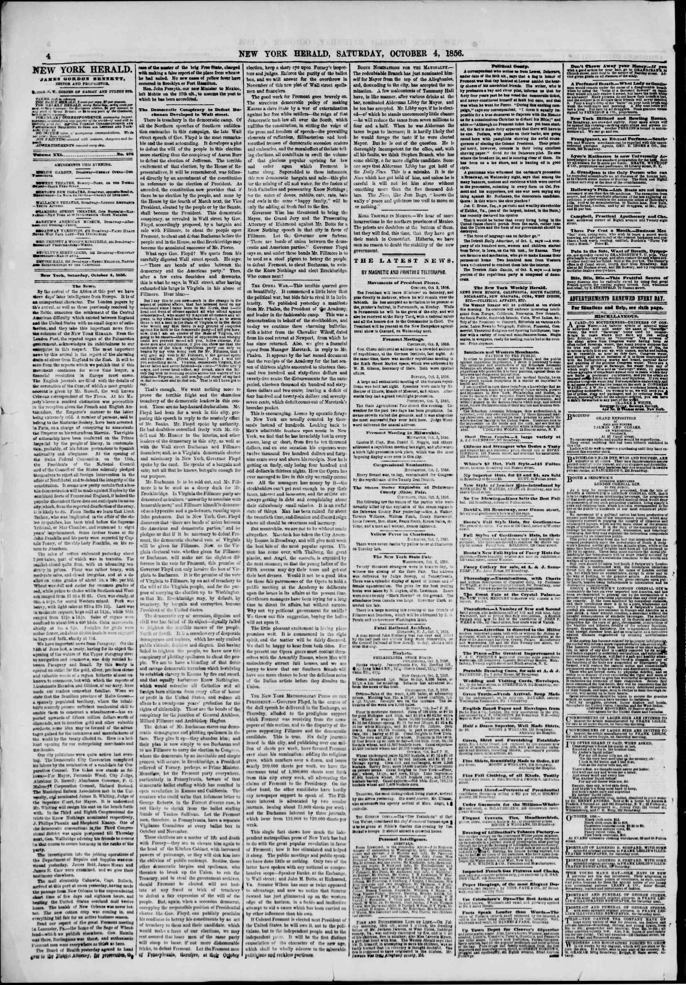 Newspaper of The New York Herald dated October 4, 1856 Page 4
