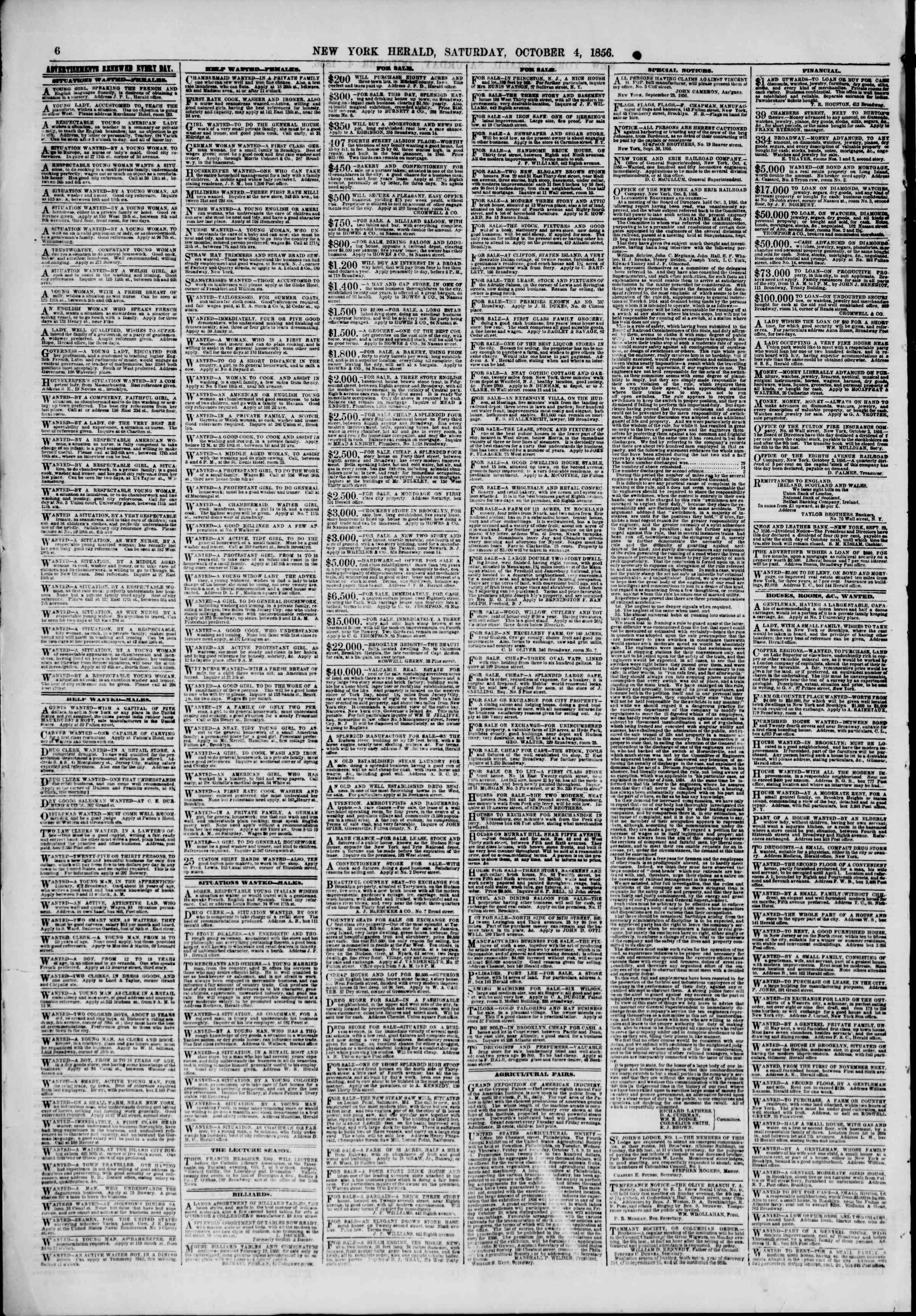 Newspaper of The New York Herald dated October 4, 1856 Page 6