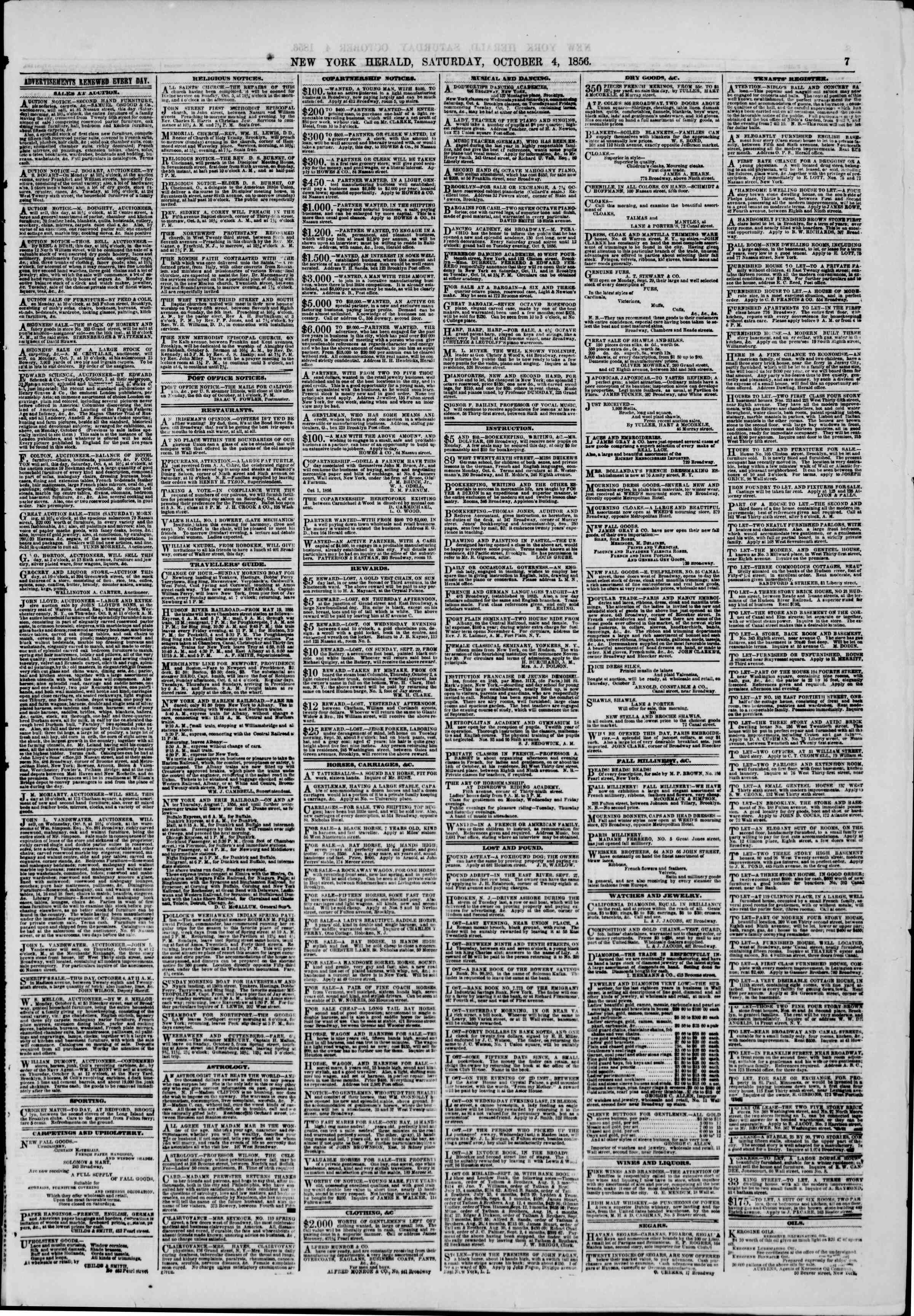Newspaper of The New York Herald dated October 4, 1856 Page 7