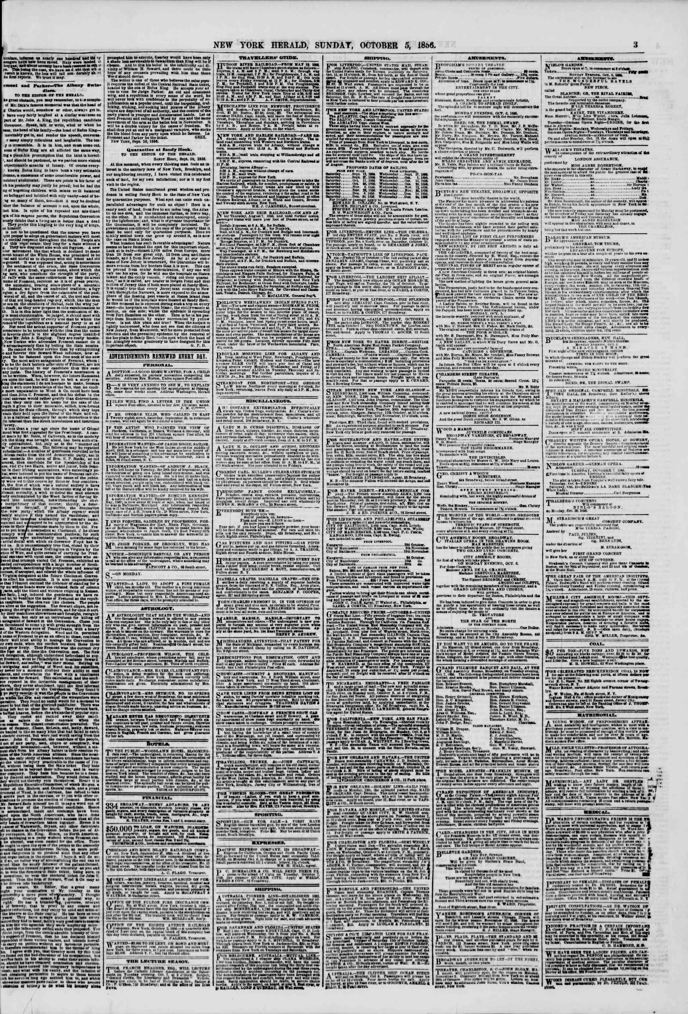 Newspaper of The New York Herald dated October 5, 1856 Page 3