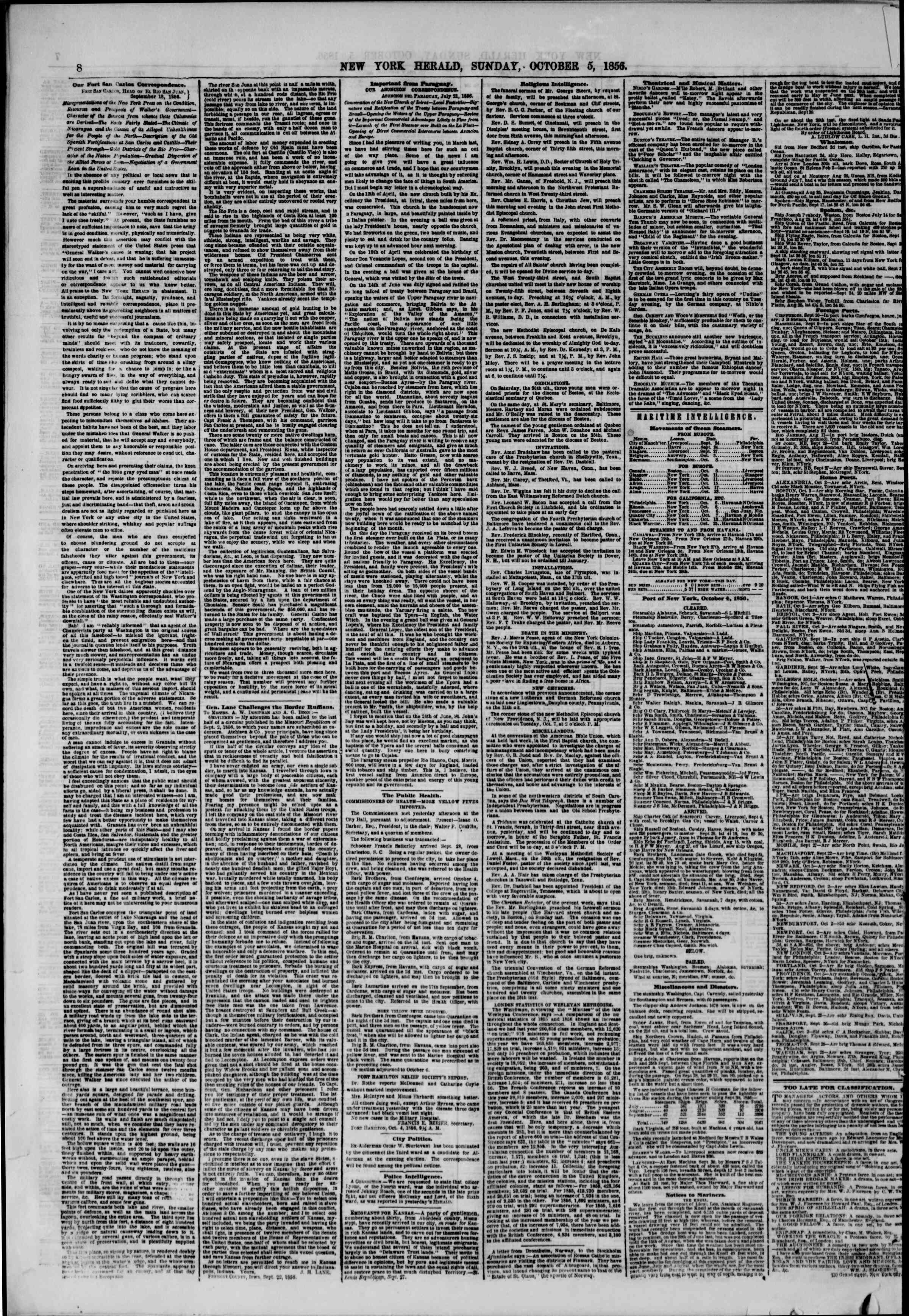 Newspaper of The New York Herald dated October 5, 1856 Page 10
